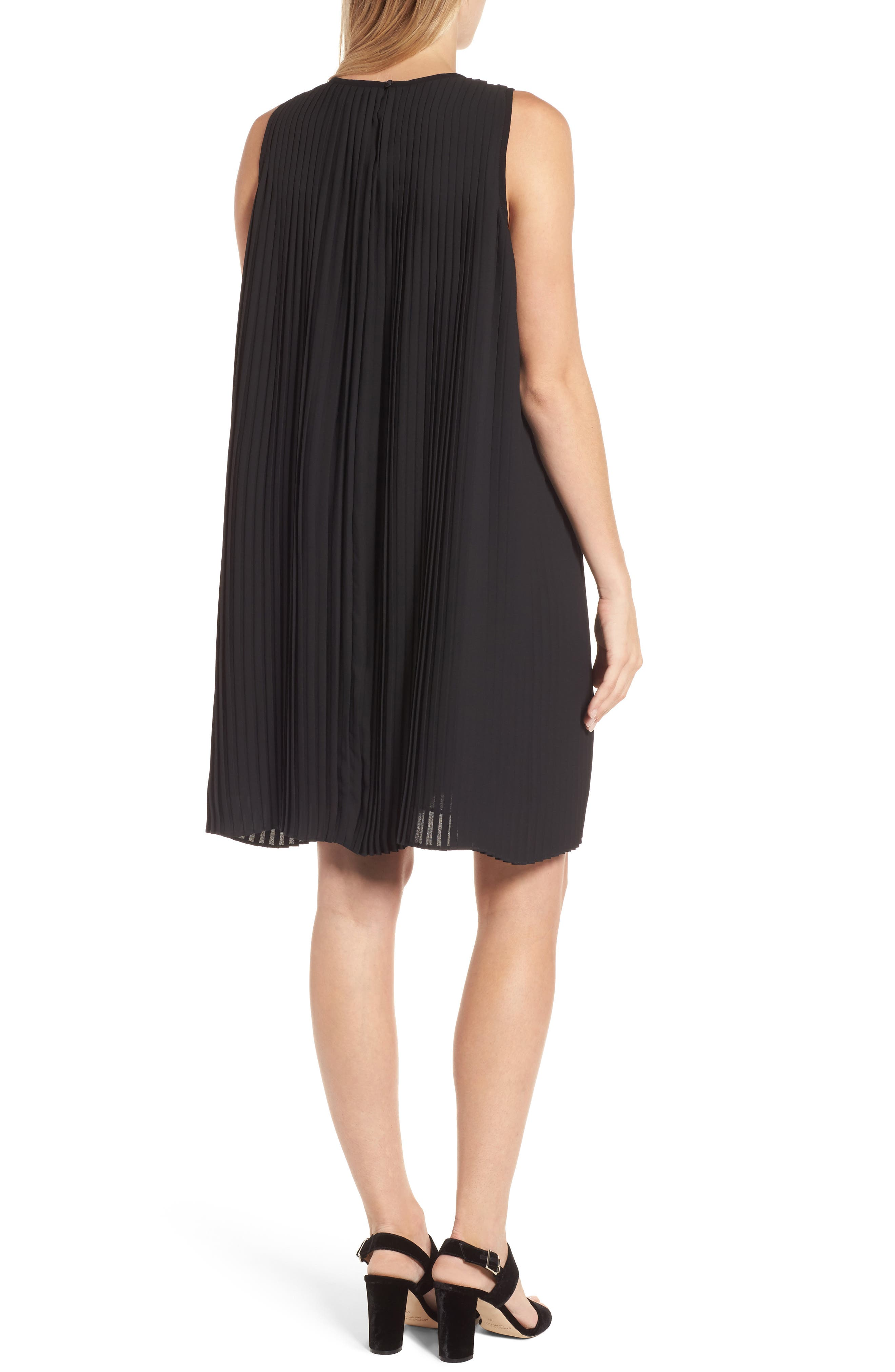 Pleated Shift Dress,                             Alternate thumbnail 2, color,                             Black