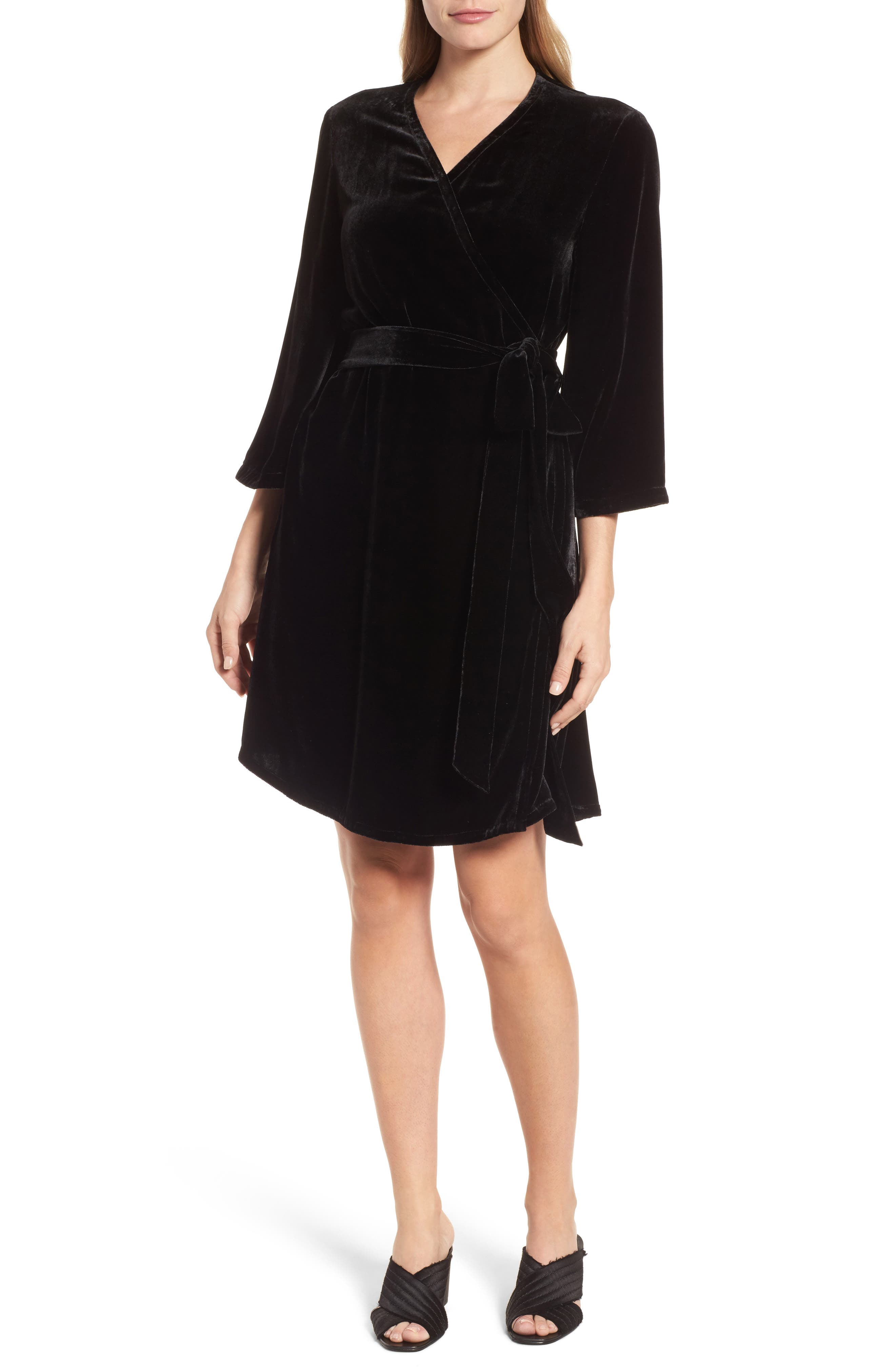 Eileen Fisher Velvet Wrap Dress (Regular & Petite)