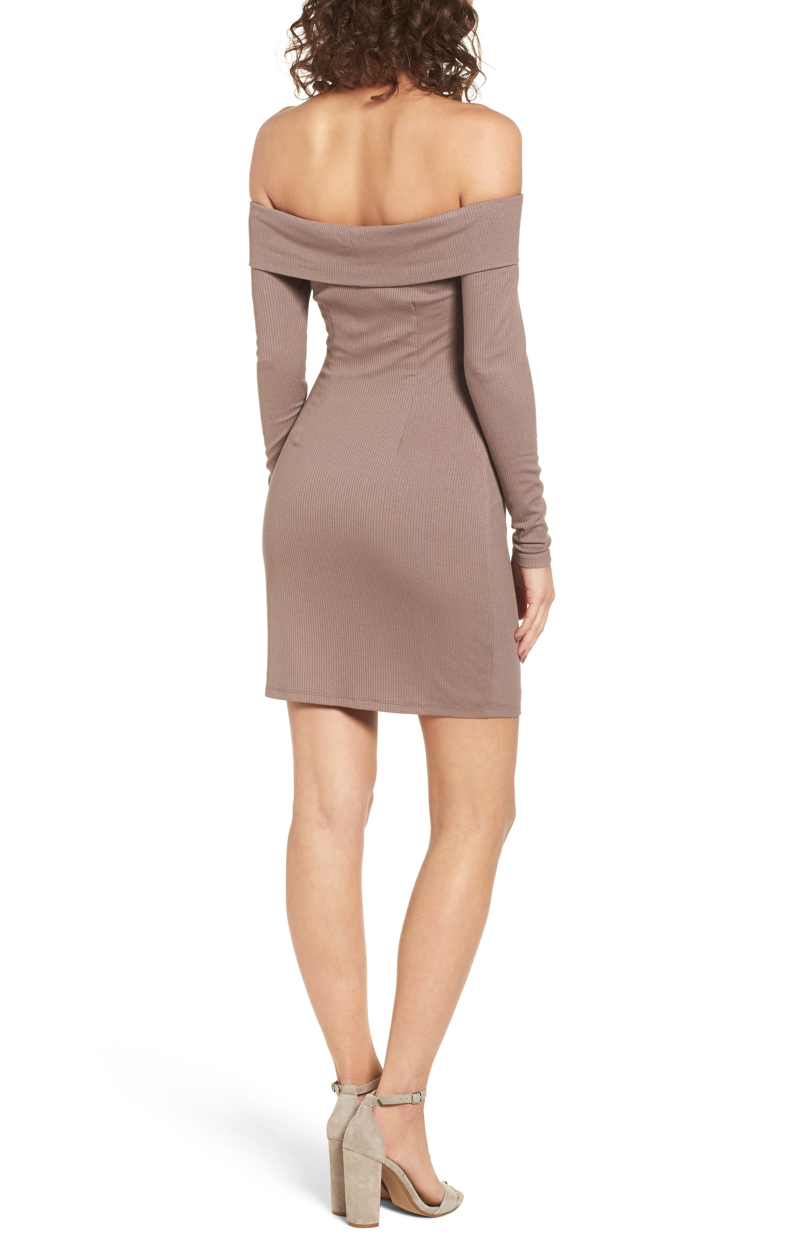 Silas Off the Shoulder Body-Con Dress,                             Alternate thumbnail 2, color,                             Warm Taupe