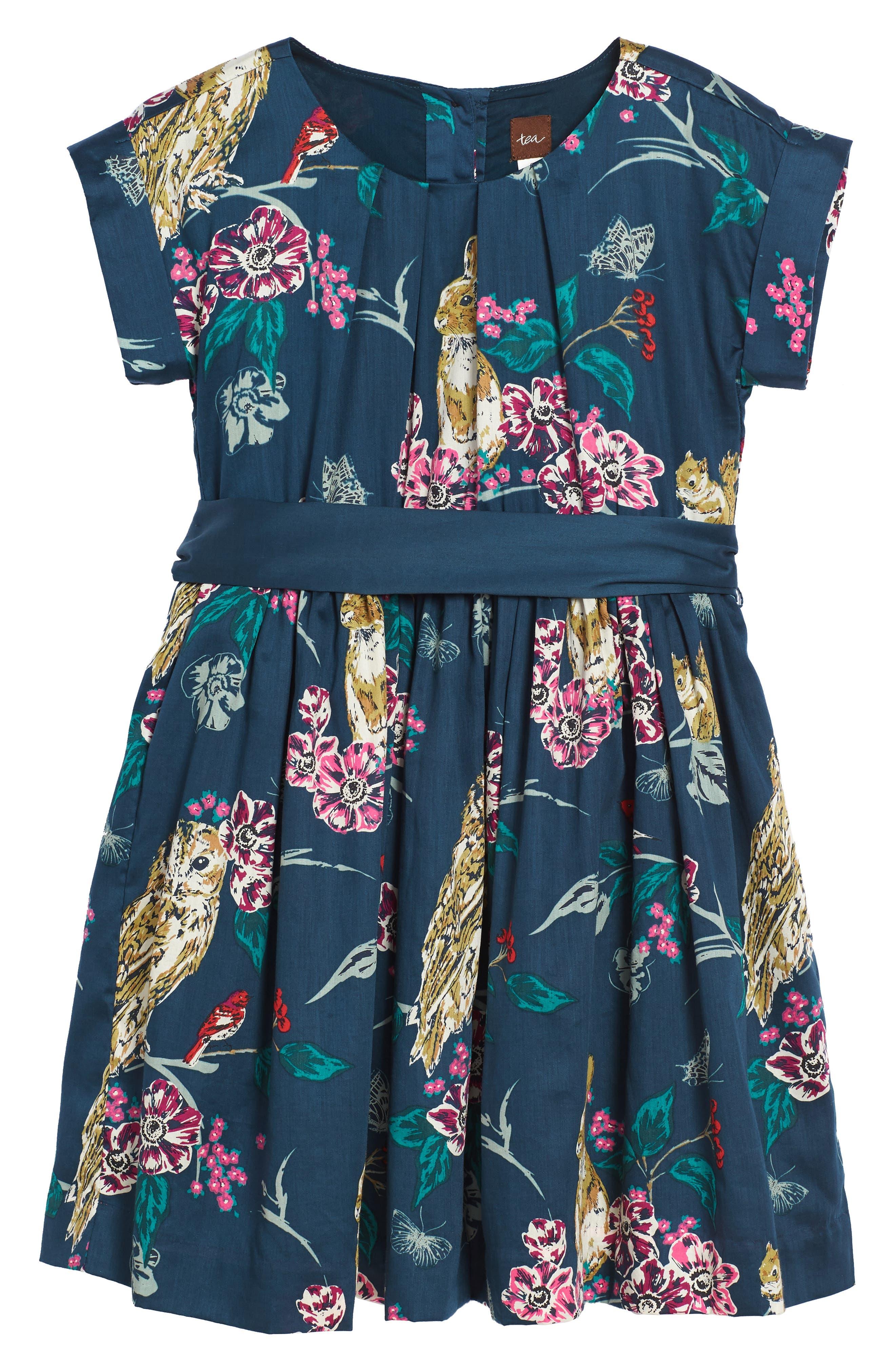 Caledonian Forest Sash Dress,                         Main,                         color, Deep Ocean