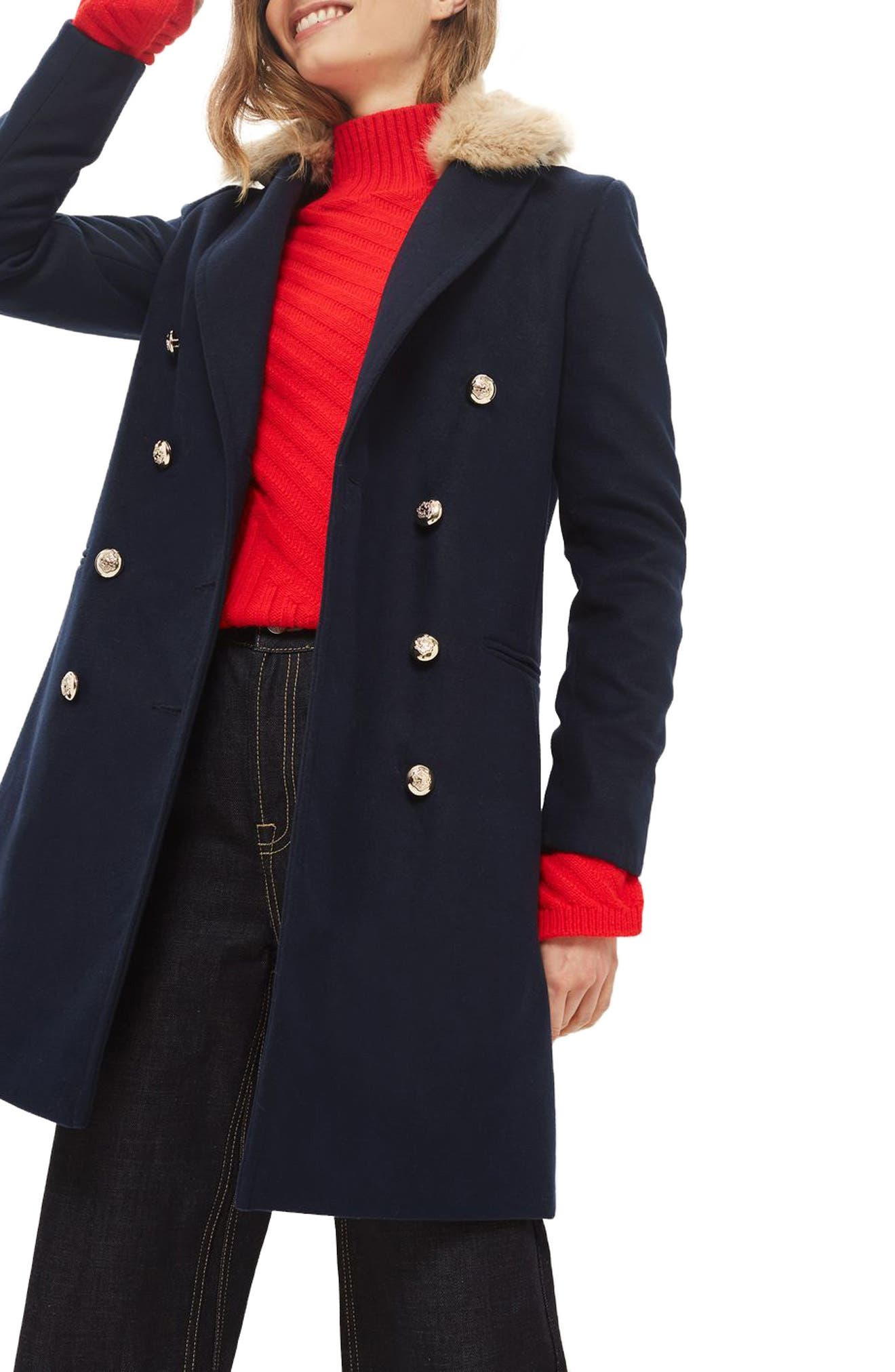Nina Faux Fur Collar Double Breasted Coat,                         Main,                         color, Navy Blue