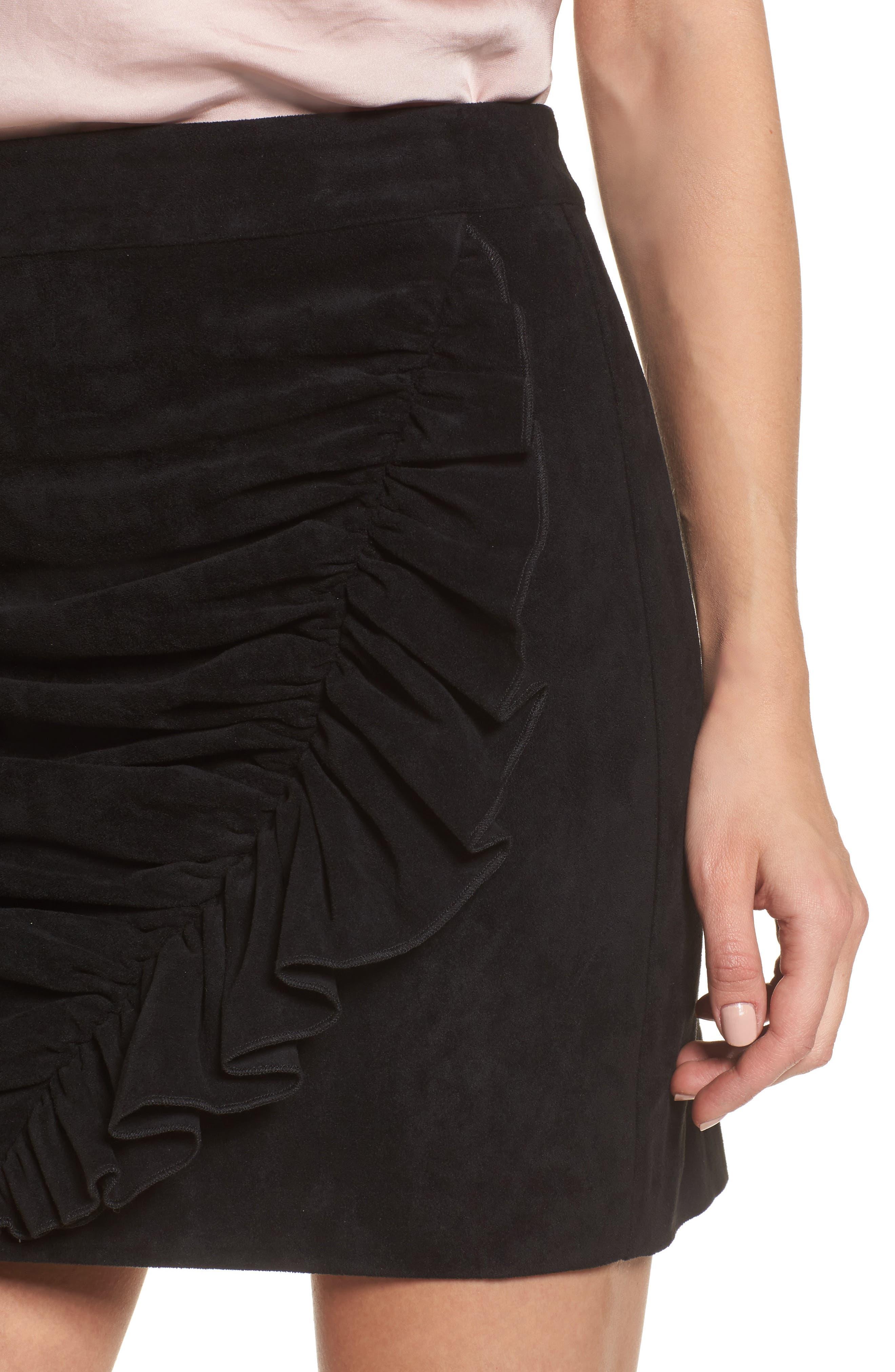 Mabel Ruched Miniskirt,                             Alternate thumbnail 4, color,                             Black