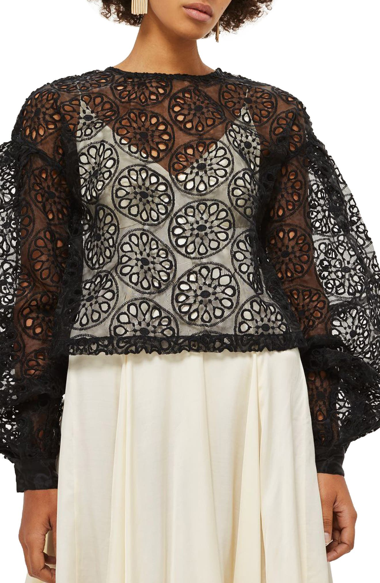 Topshop Ruched Sleeve Organza Cutwork Top