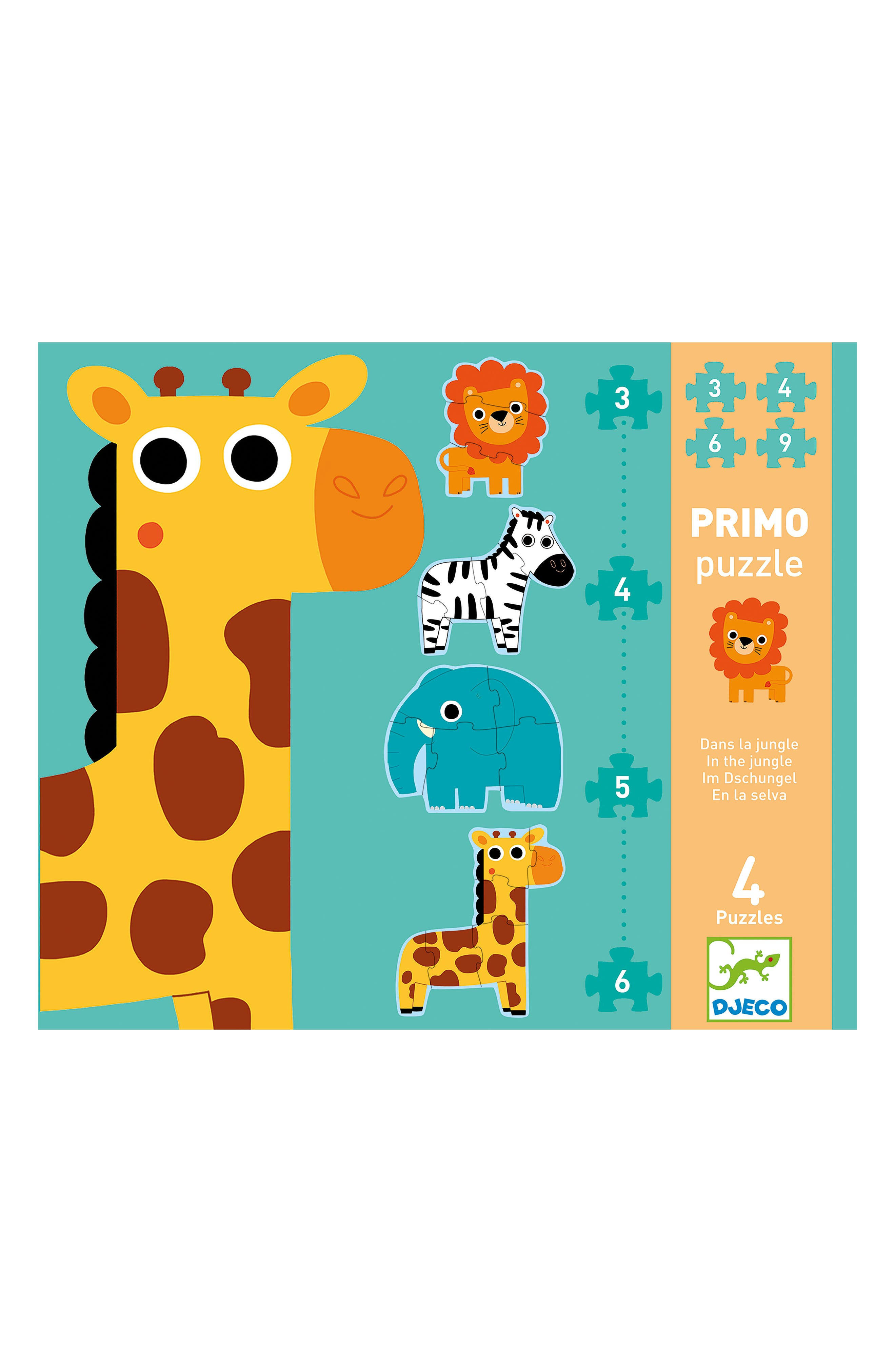 Alternate Image 1 Selected - Djeco Primo Puzzle In the Jungle Set of Four Puzzles