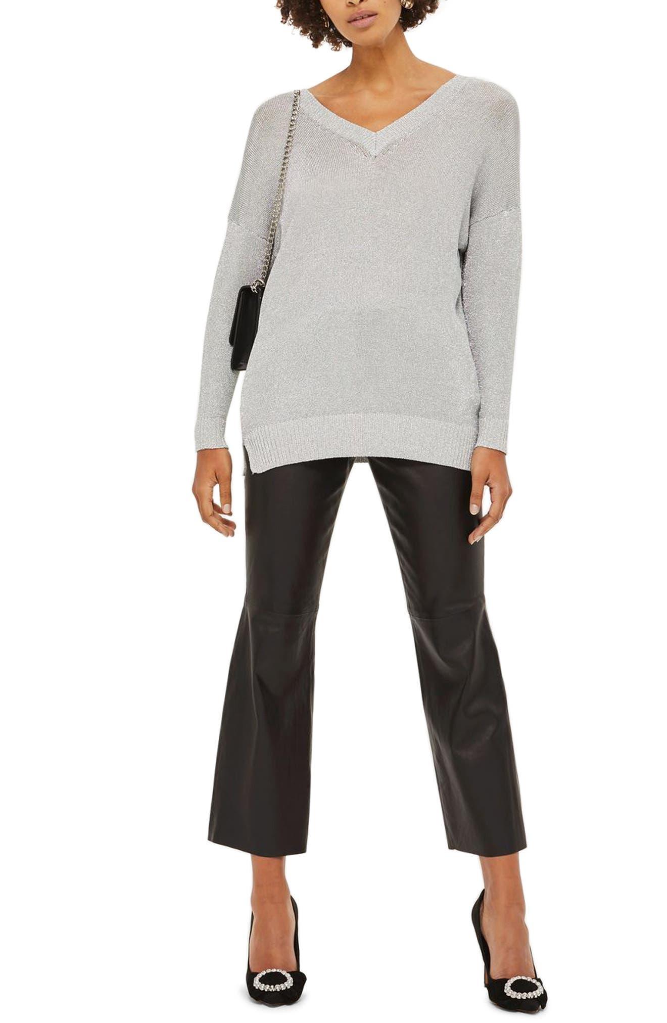 Metallic Longline V-Neck Sweater,                         Main,                         color, Silver