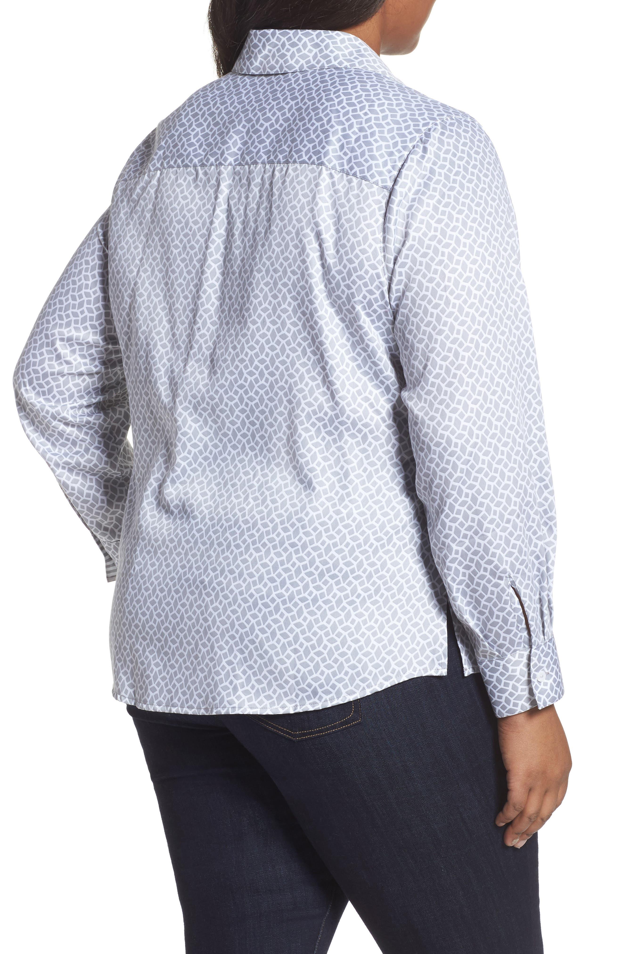 Alternate Image 2  - Foxcroft Ava Geo Print Shirt (Plus Size)