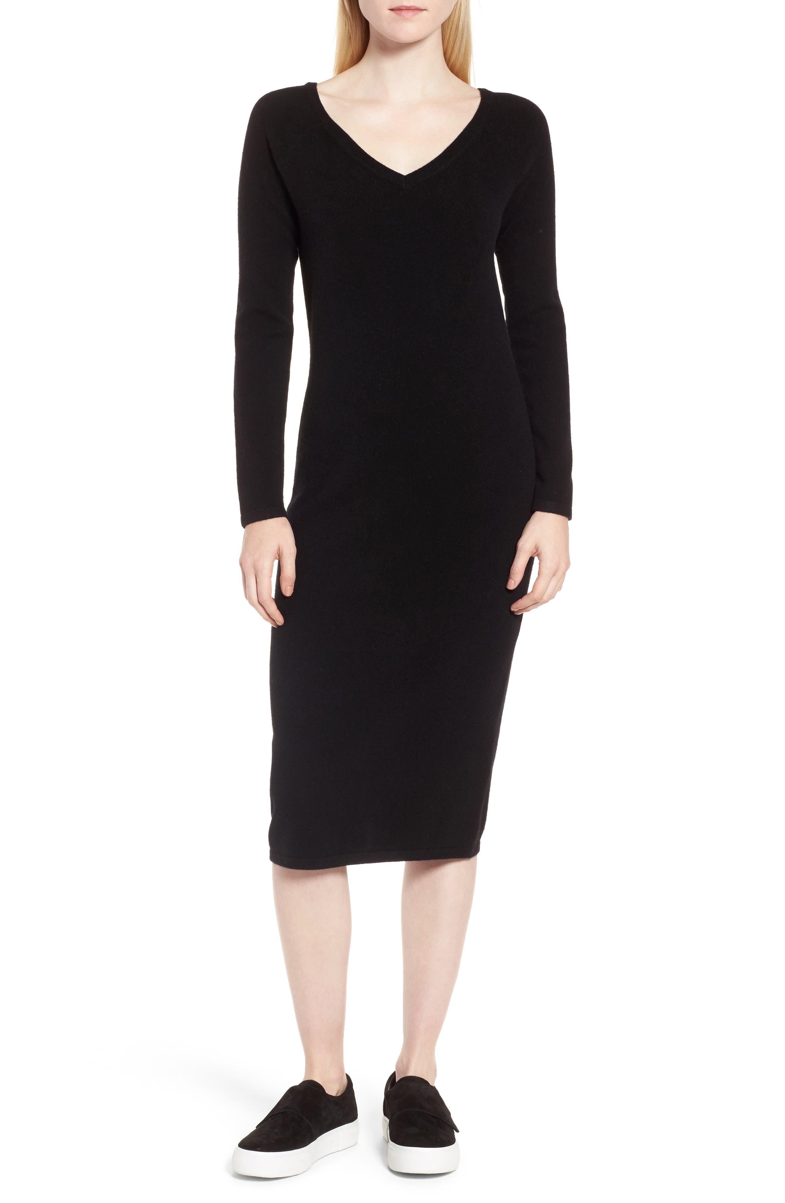 Cashmere Blend V-Neck Midi Dress,                             Main thumbnail 1, color,                             Black