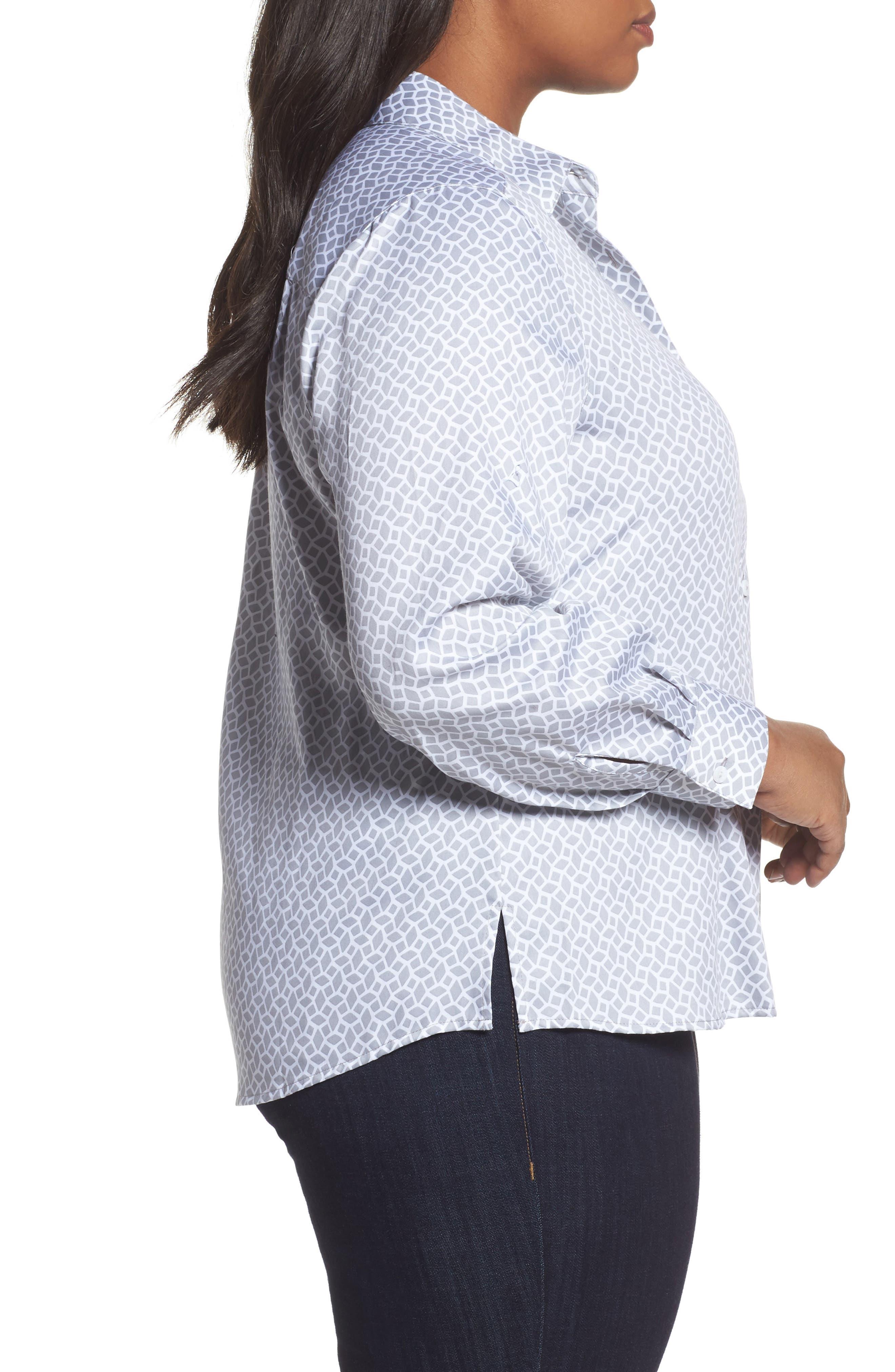 Alternate Image 3  - Foxcroft Ava Geo Print Shirt (Plus Size)