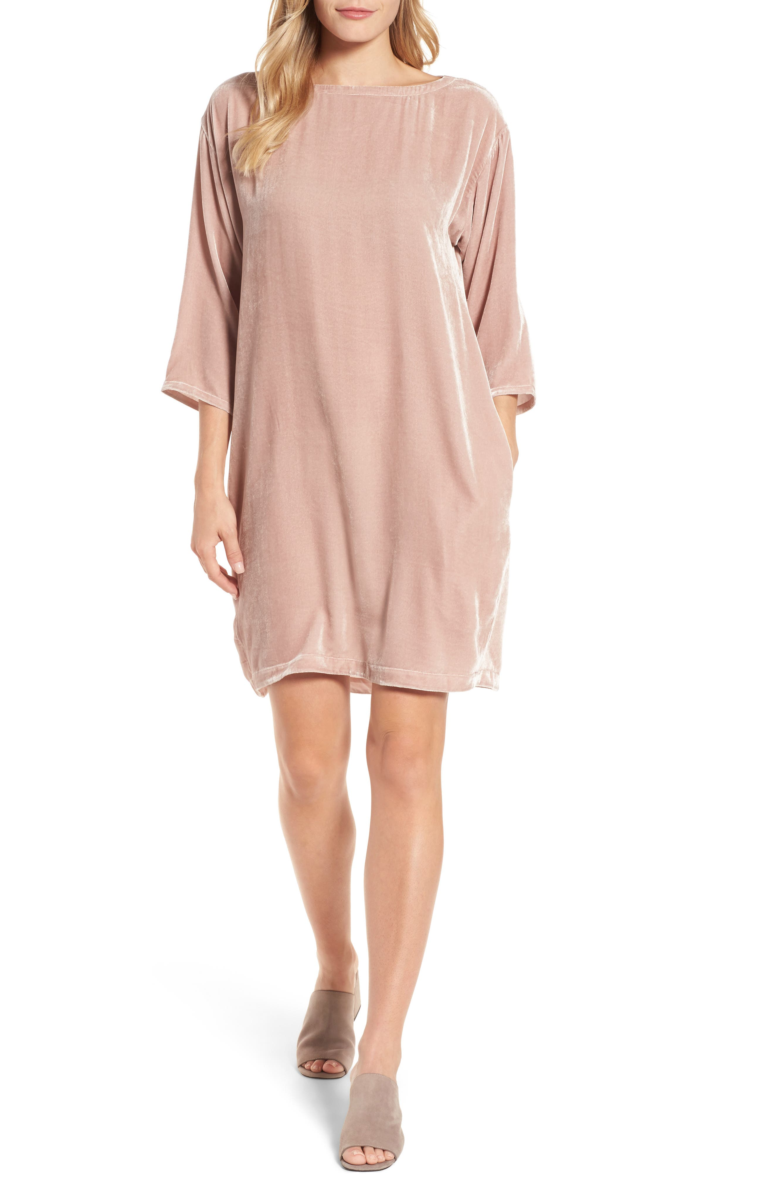 Eileen Fisher Velvet Shift Dress (Regular & Petite)