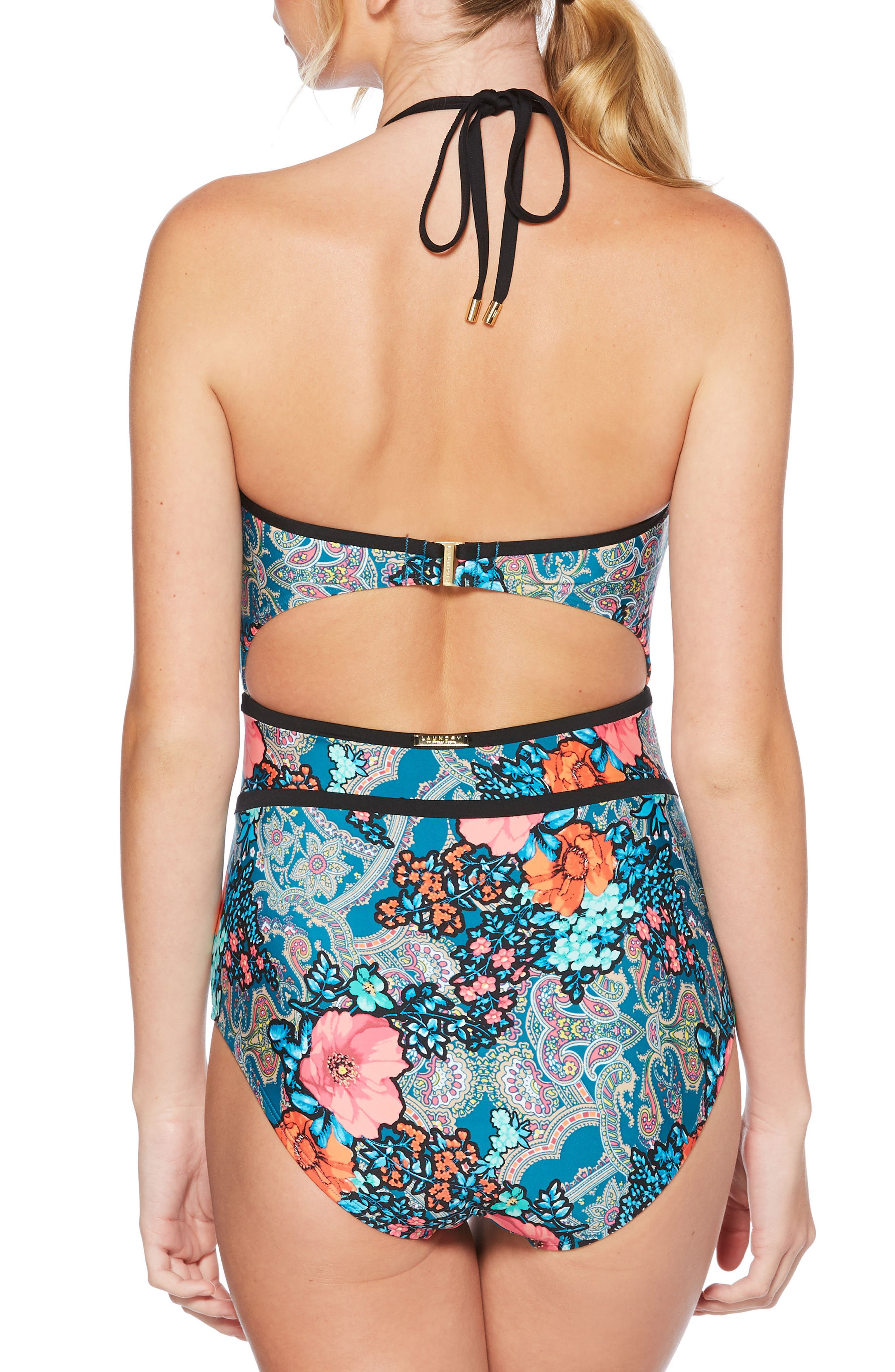 Floral Cutout One-Piece Swimsuit,                             Alternate thumbnail 2, color,                             Teal