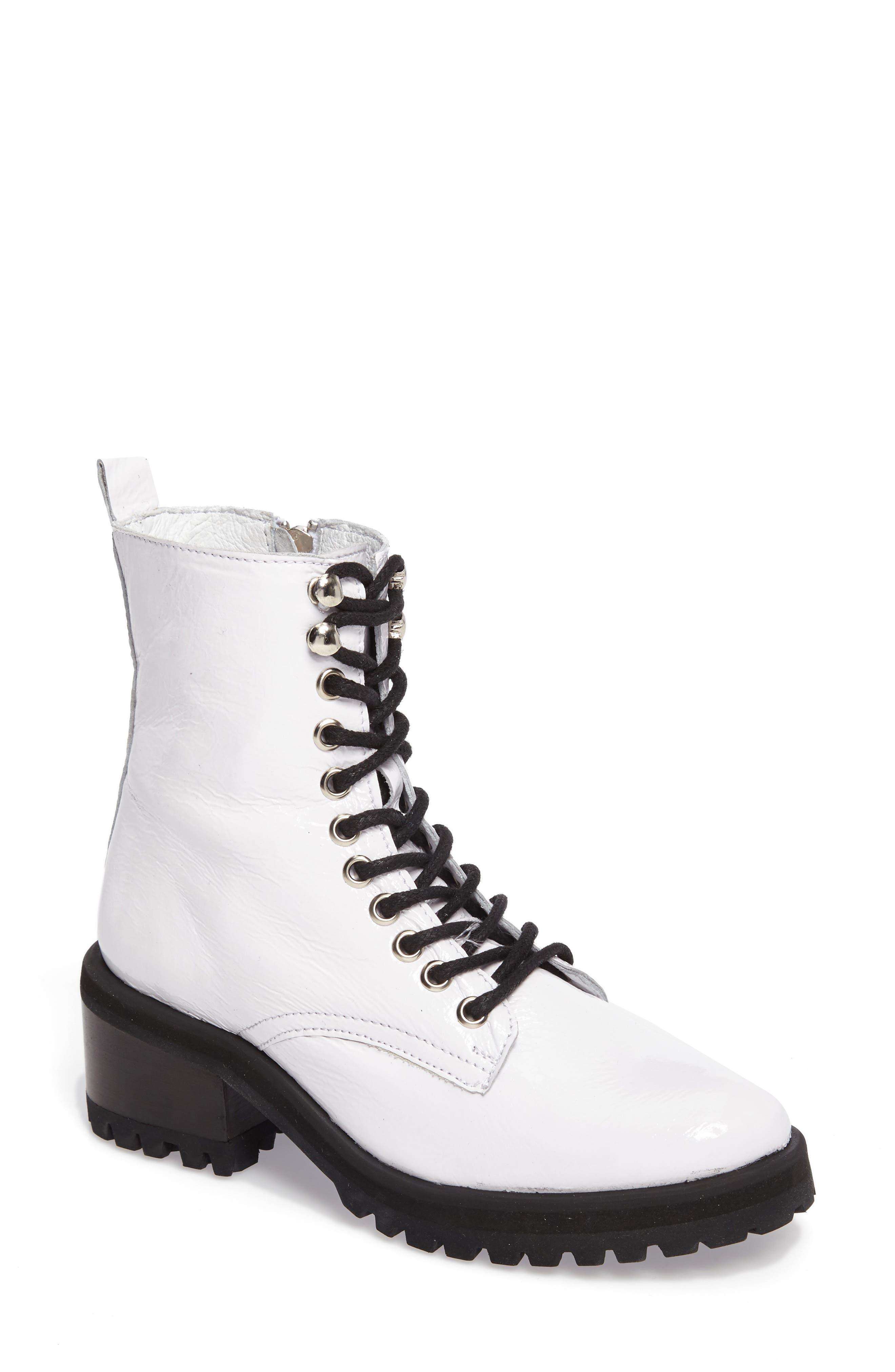 Geneva Bootie,                             Main thumbnail 1, color,                             White Patent Leather