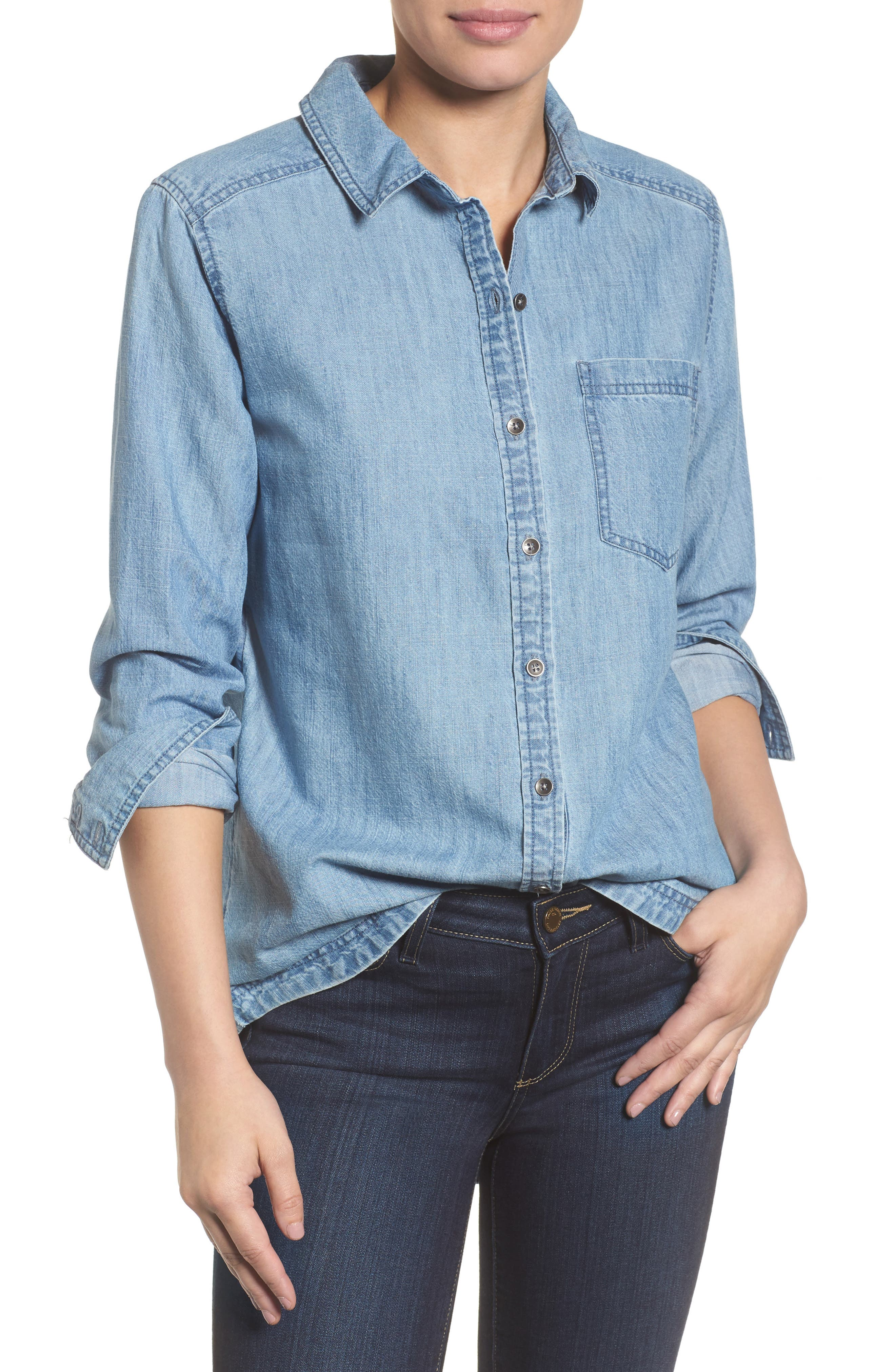 Alternate Image 1 Selected - Caslon® Button Front Chambray Shirt (Regular & Petite)