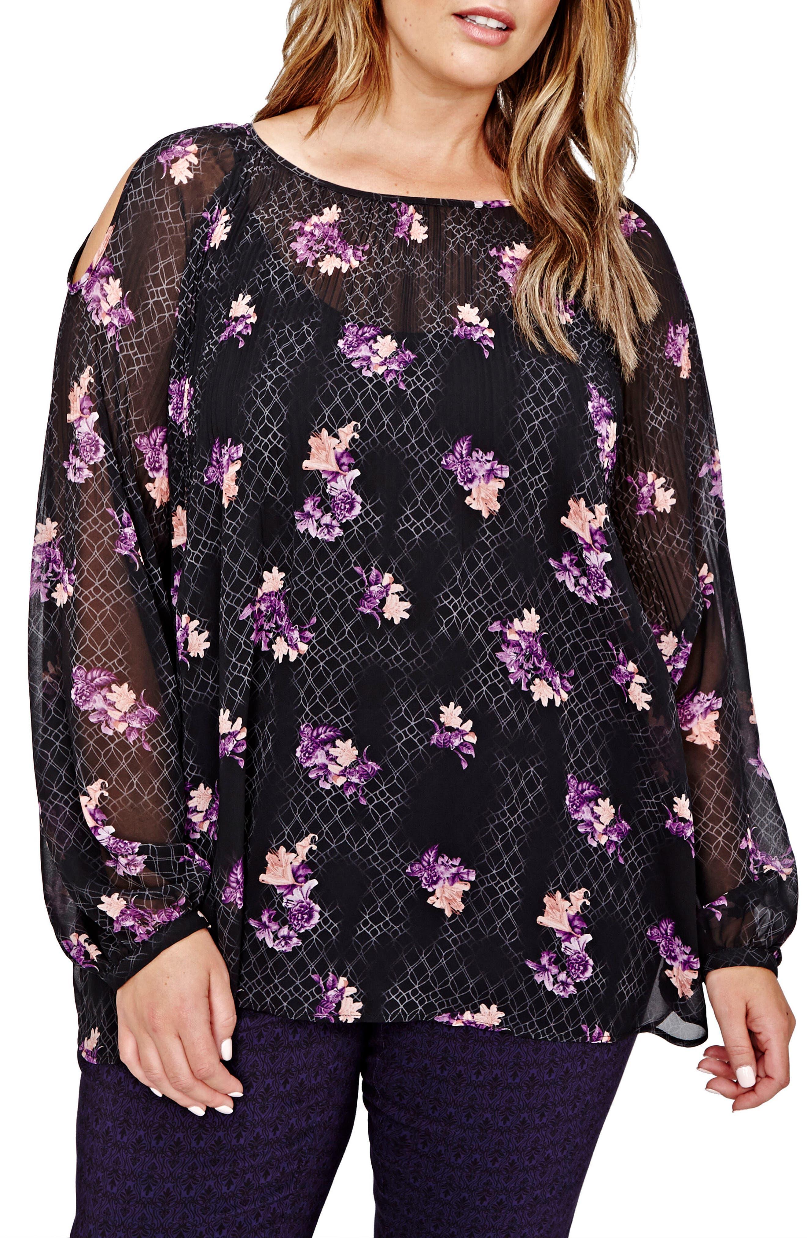 Main Image - MICHEL STUDIO Floral Print Cold Shoulder Top (Plus Size)