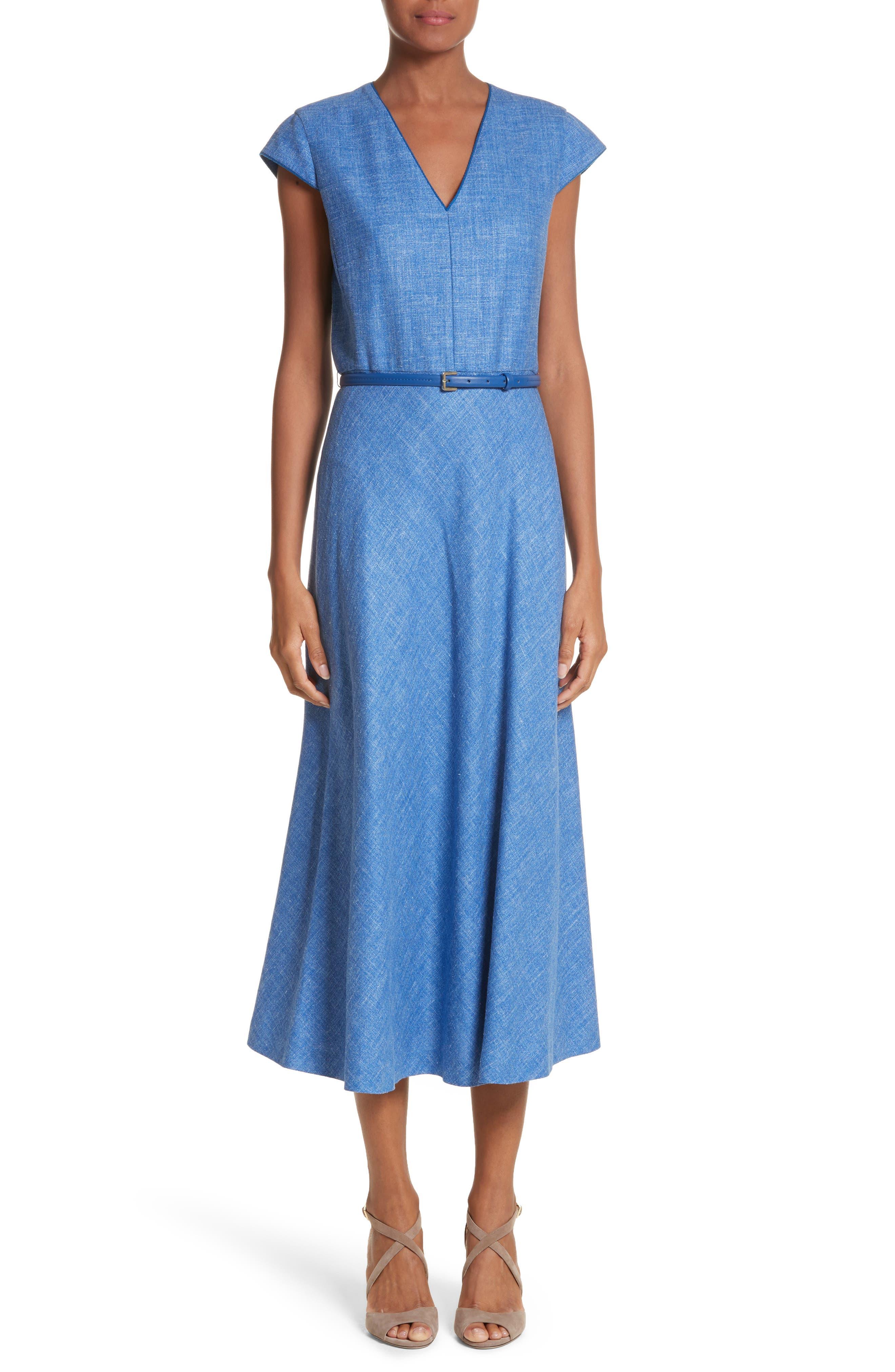 Caramba Silk, Linen & Wool Midi Dress,                             Main thumbnail 1, color,                             Cornflower Blue