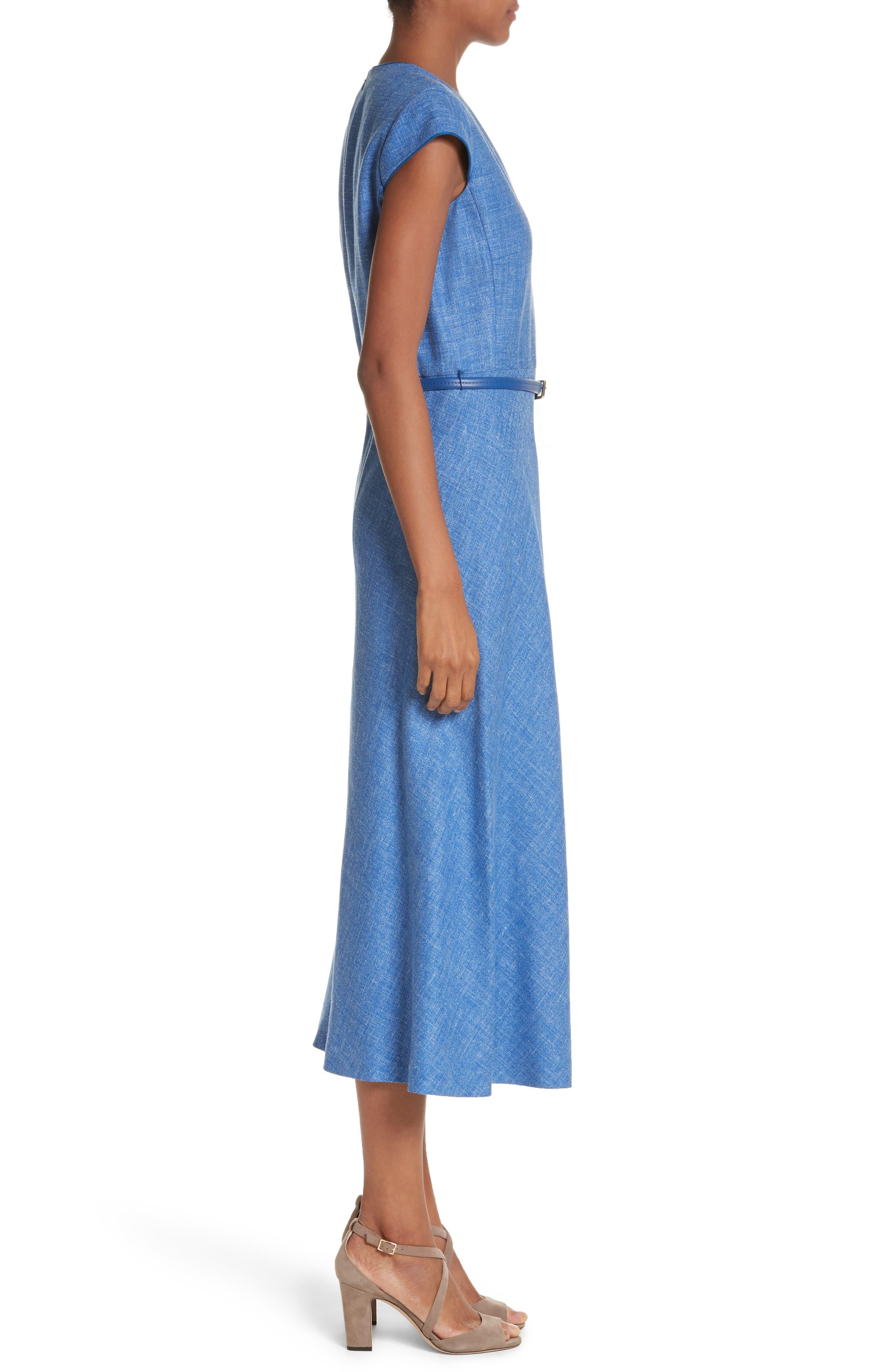 Caramba Silk, Linen & Wool Midi Dress,                             Alternate thumbnail 3, color,                             Cornflower Blue
