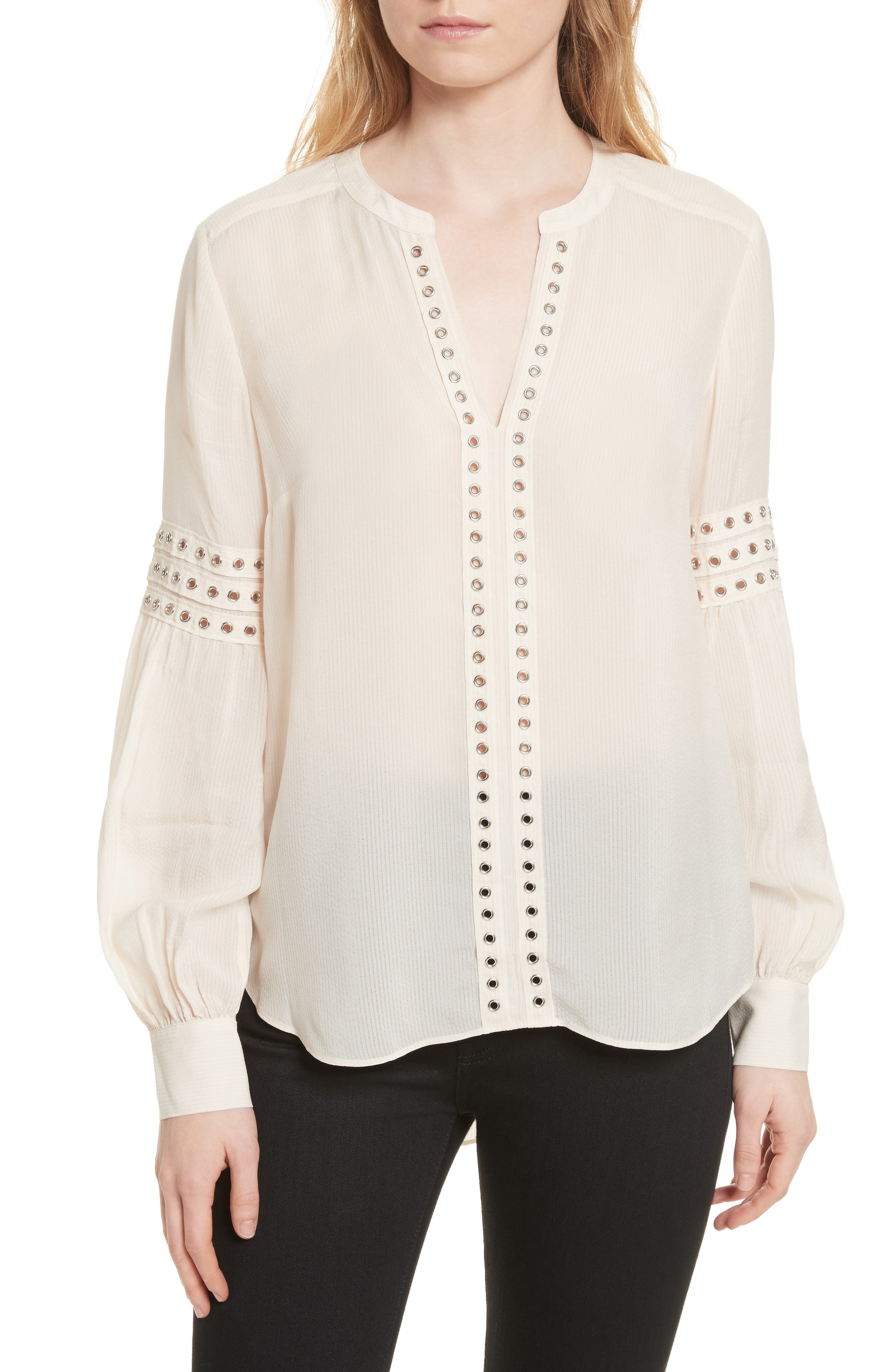 Willa Eyelet Trim Blouse,                             Main thumbnail 1, color,                             White