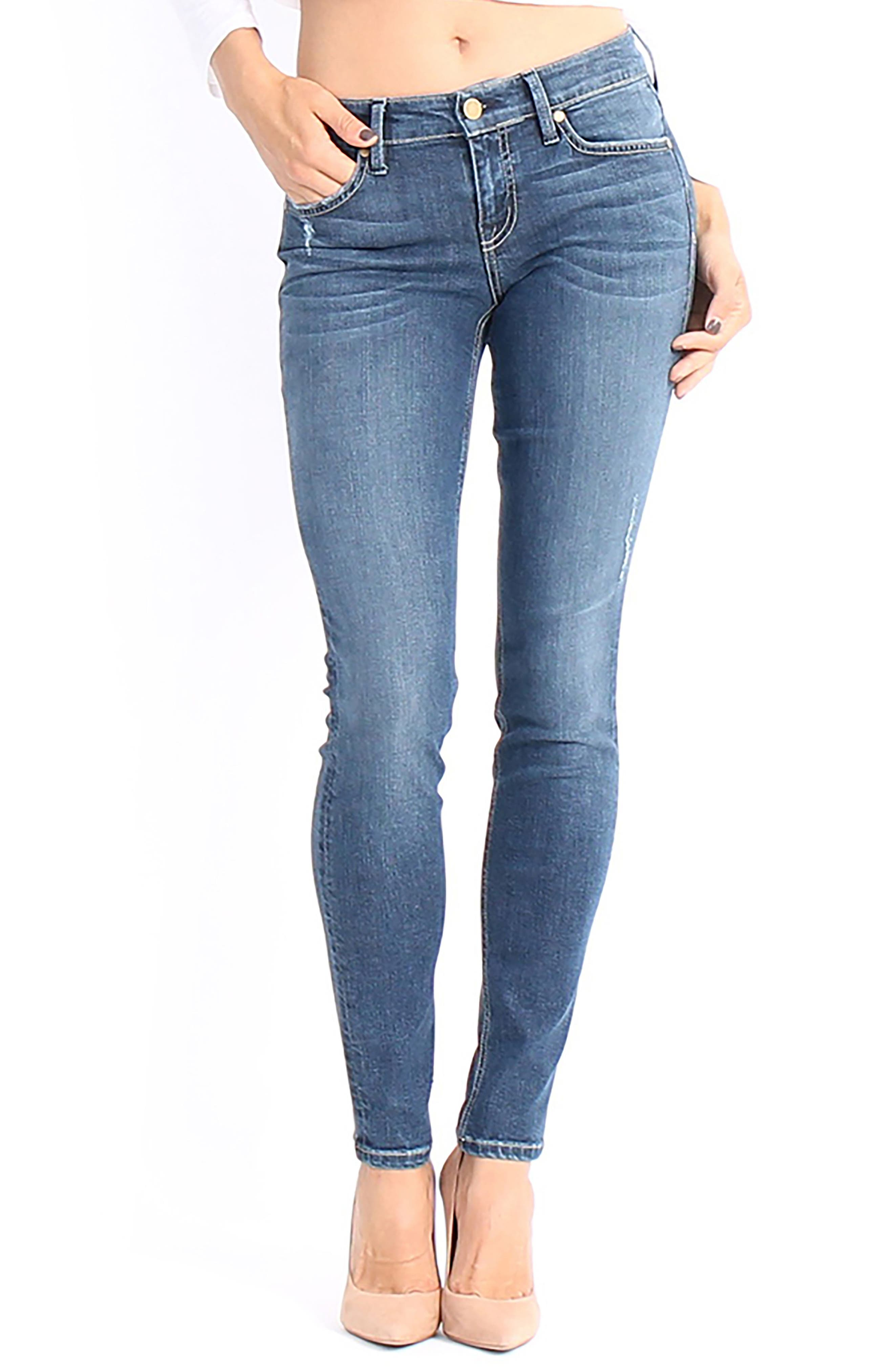 Main Image - Level 99 Lisa Stretch Distressed Super Skinny Jeans