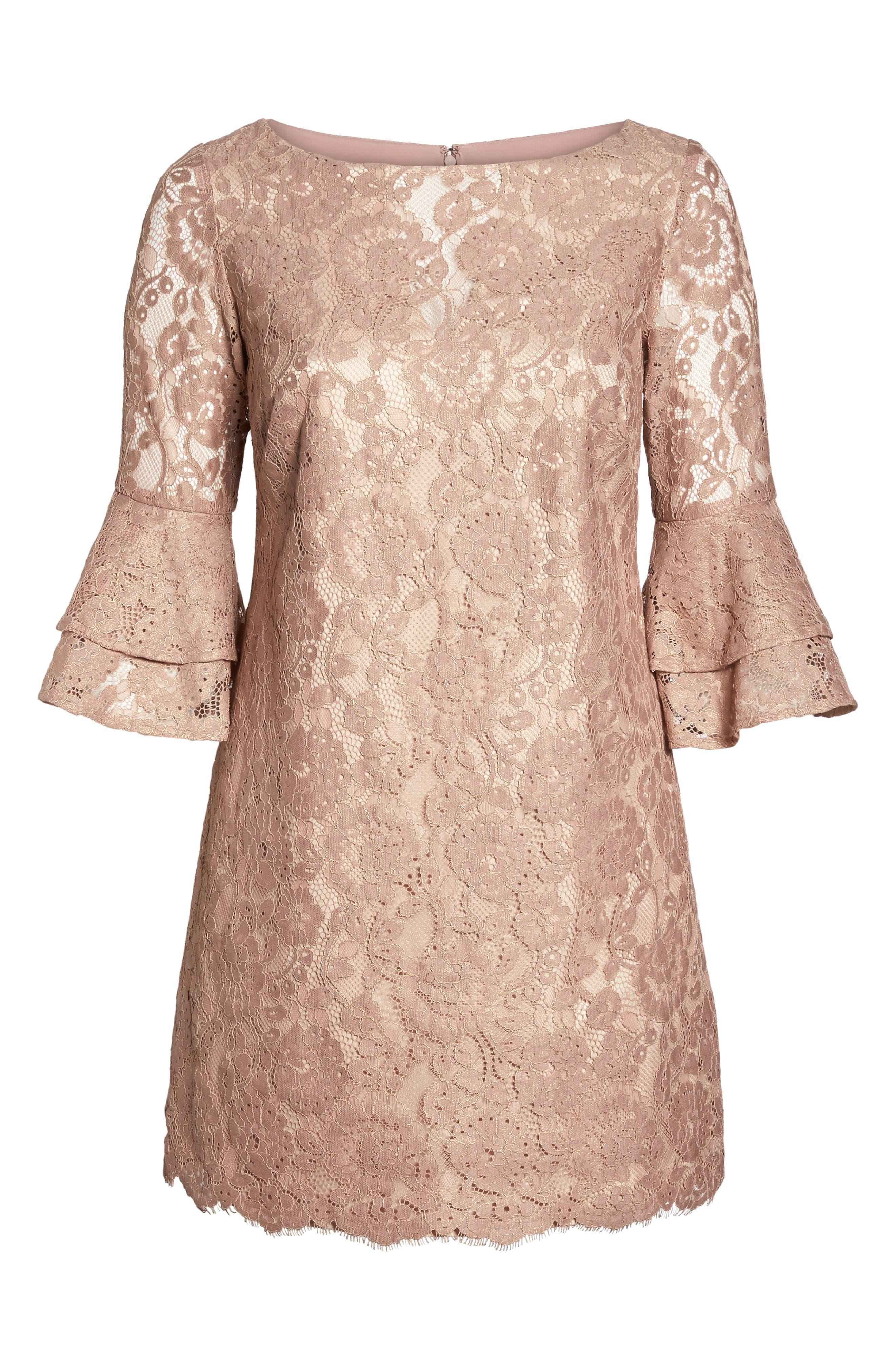 Ruffle Cuff Lace Shift Dress,                             Alternate thumbnail 6, color,                             Blush
