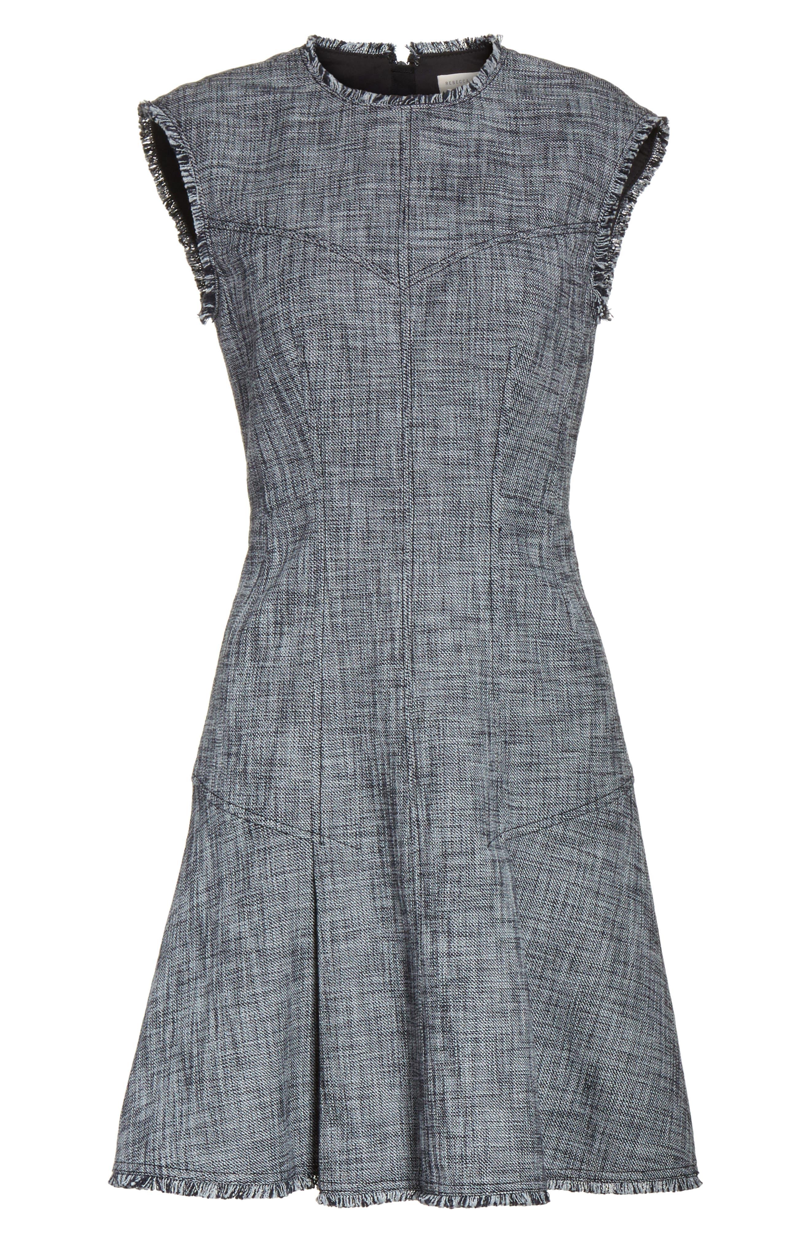 Slub Suiting Fit & Flare Dress,                             Alternate thumbnail 6, color,                             Grey/ Black Combo