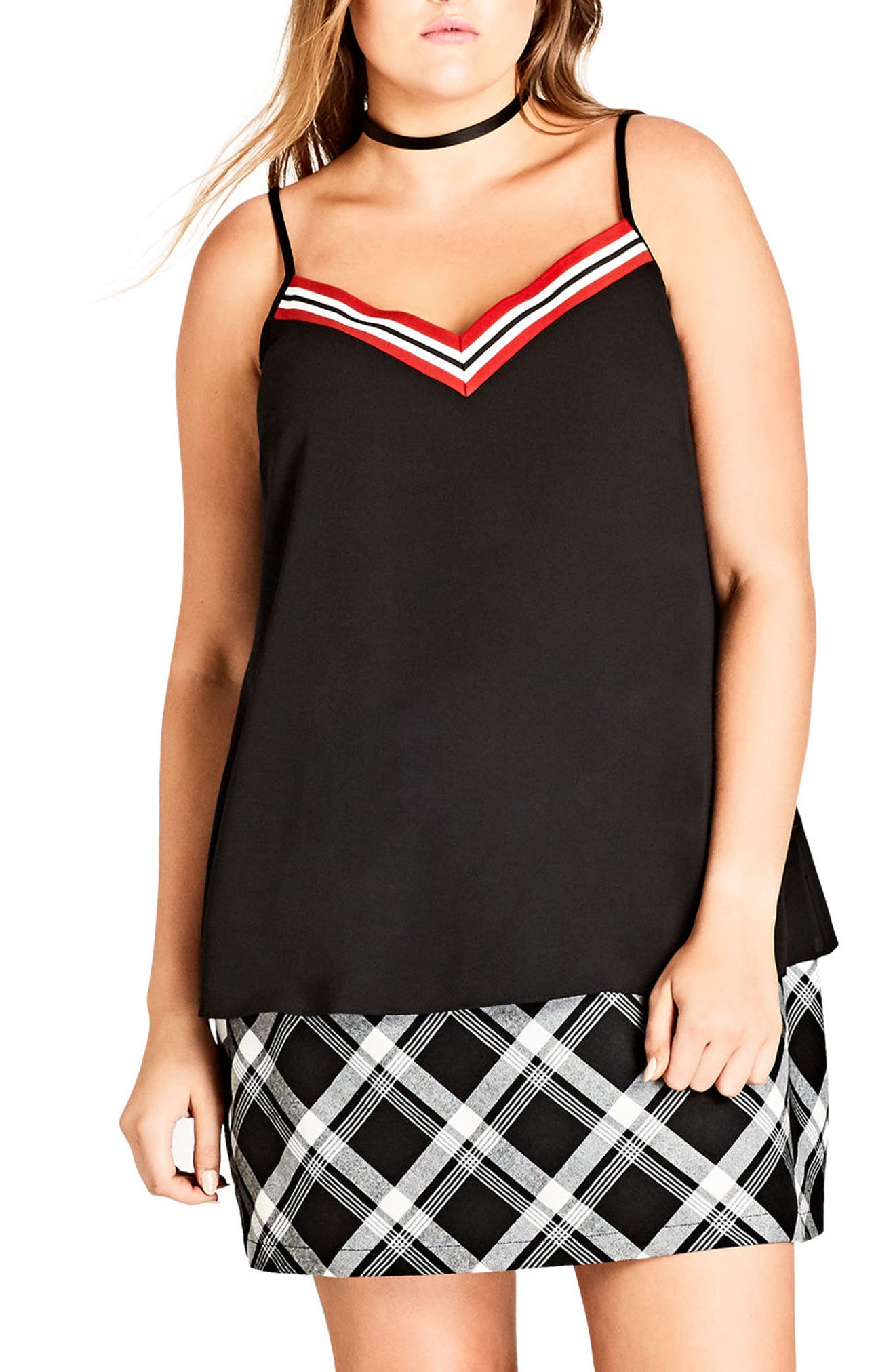 Alternate Image 1 Selected - City Chic Sports Stripe Camisole (Plus Size)