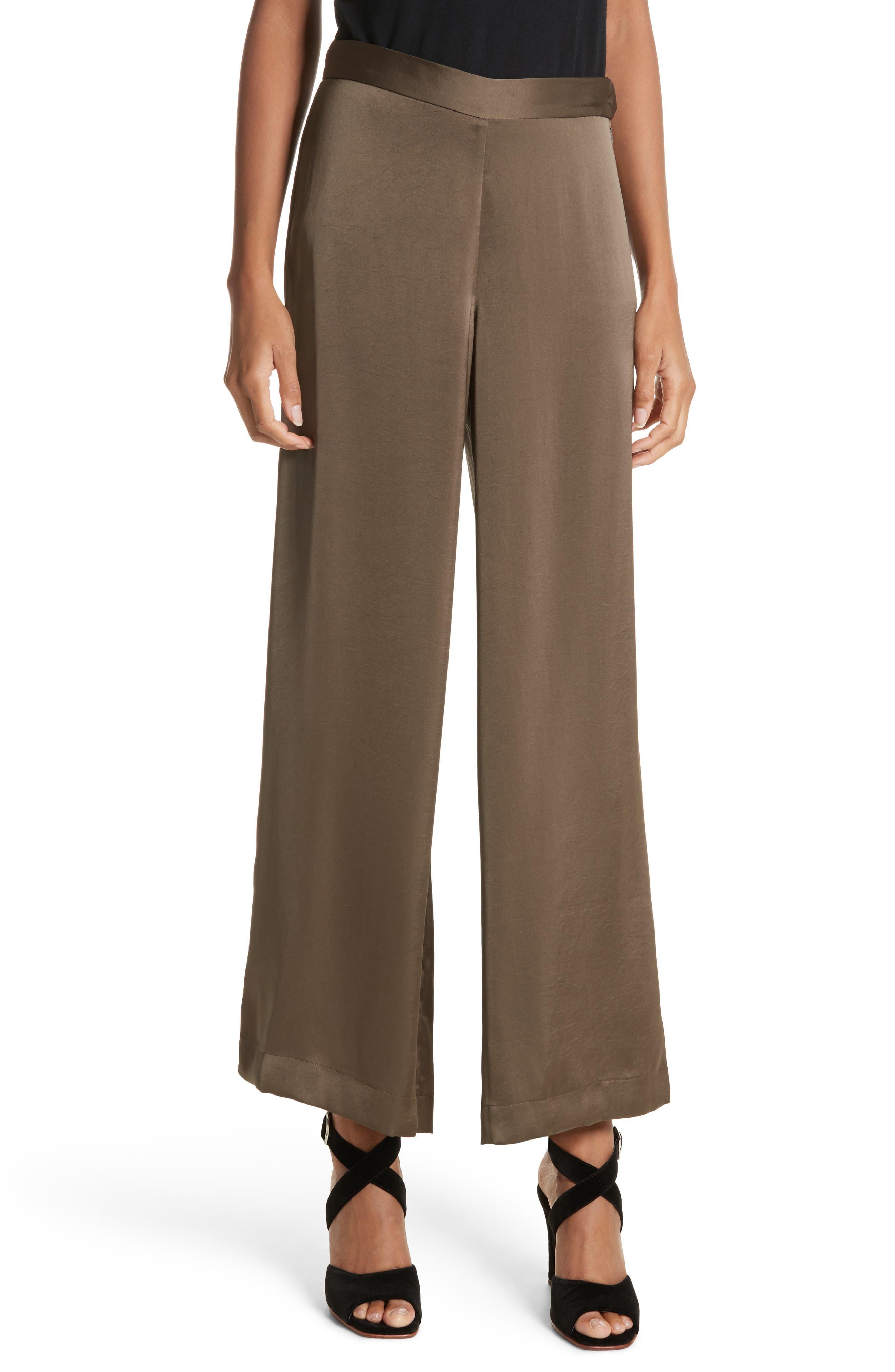 Cleric Satin Wide Leg Pants,                         Main,                         color, Khaki