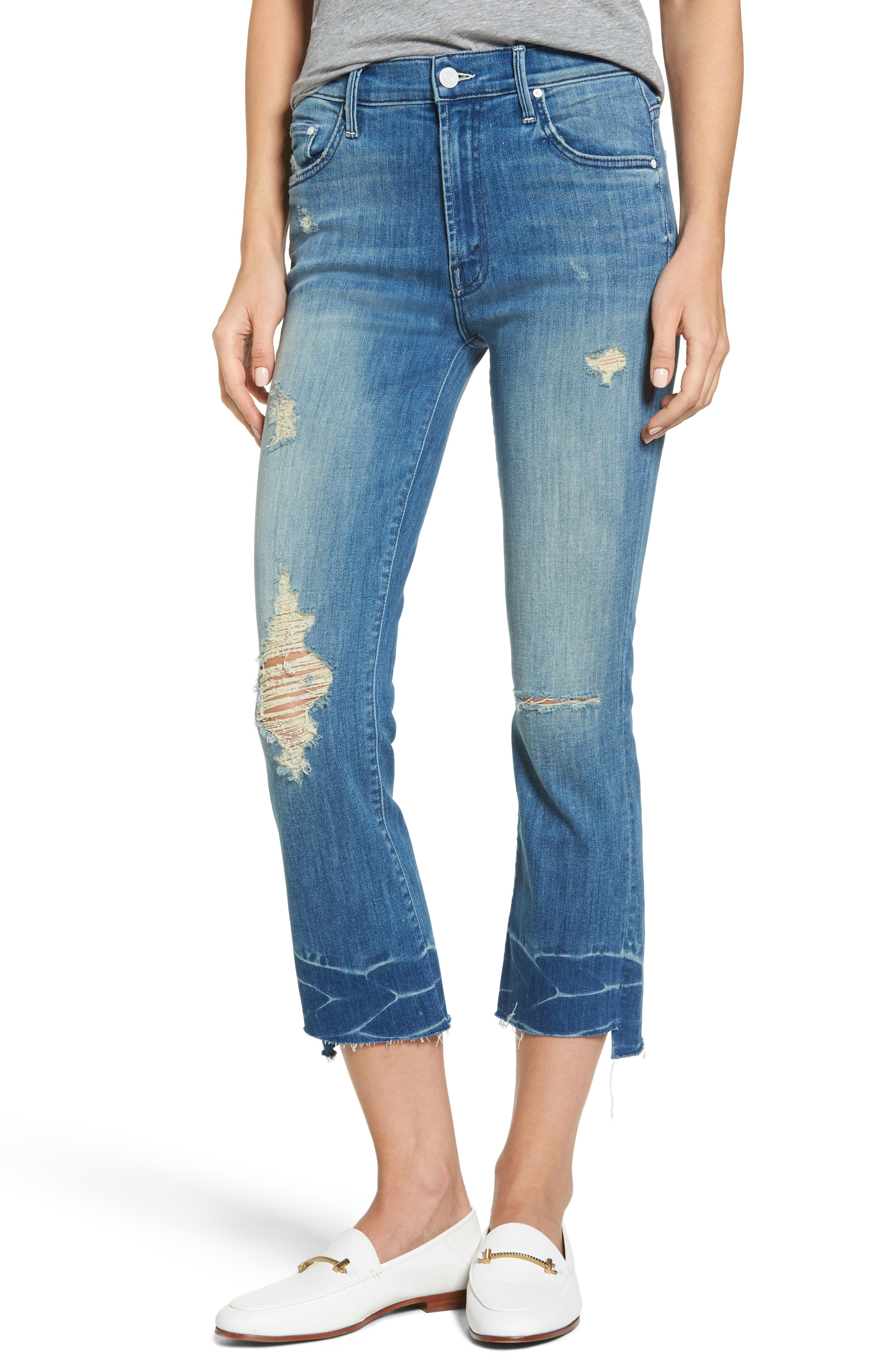 MOTHER The Insider Frayed Step Hem Crop Jeans (Naughty Intentions)