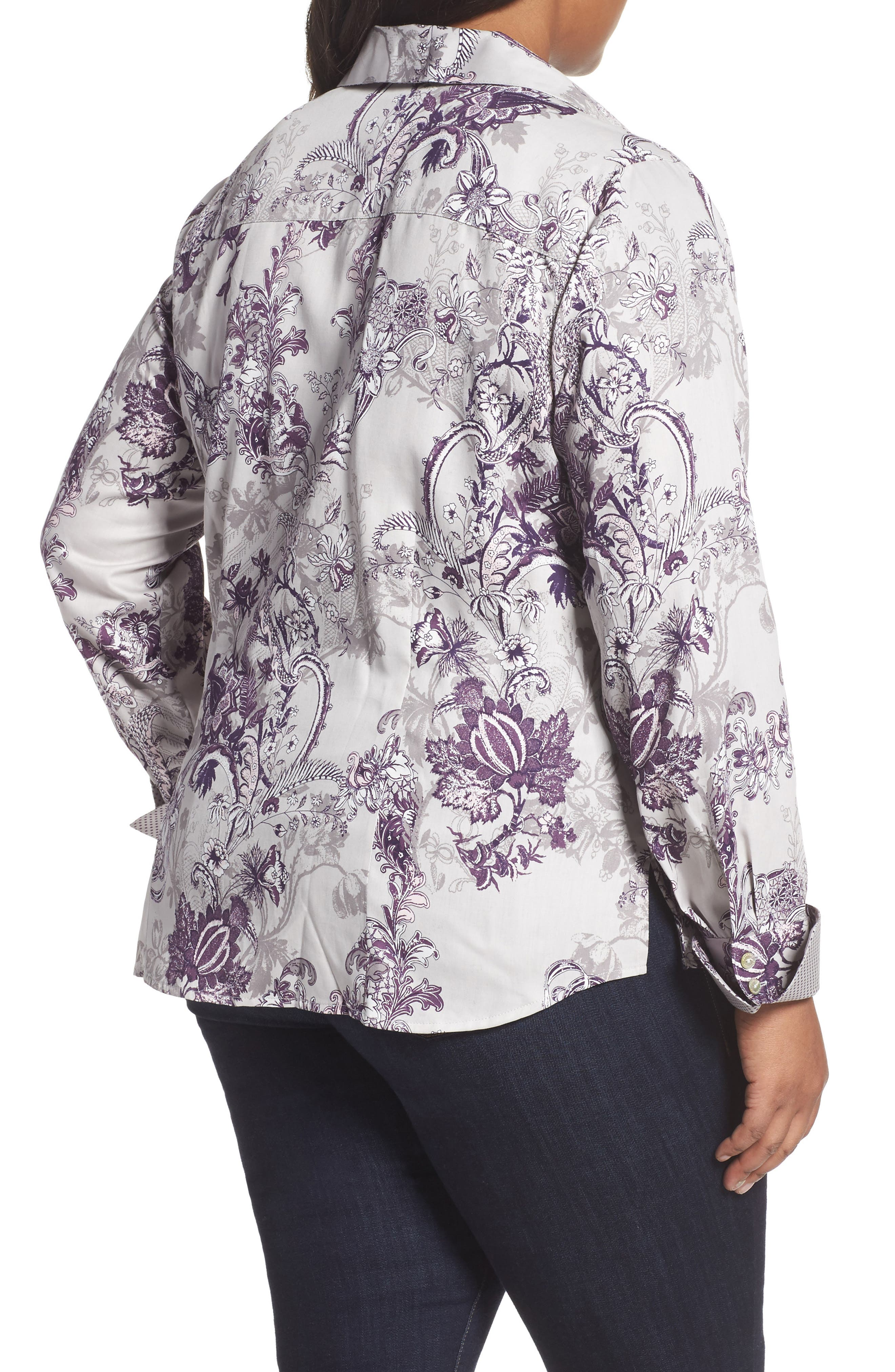 Alternate Image 2  - Foxcroft Floral Tapestry Shirt (Plus Size)
