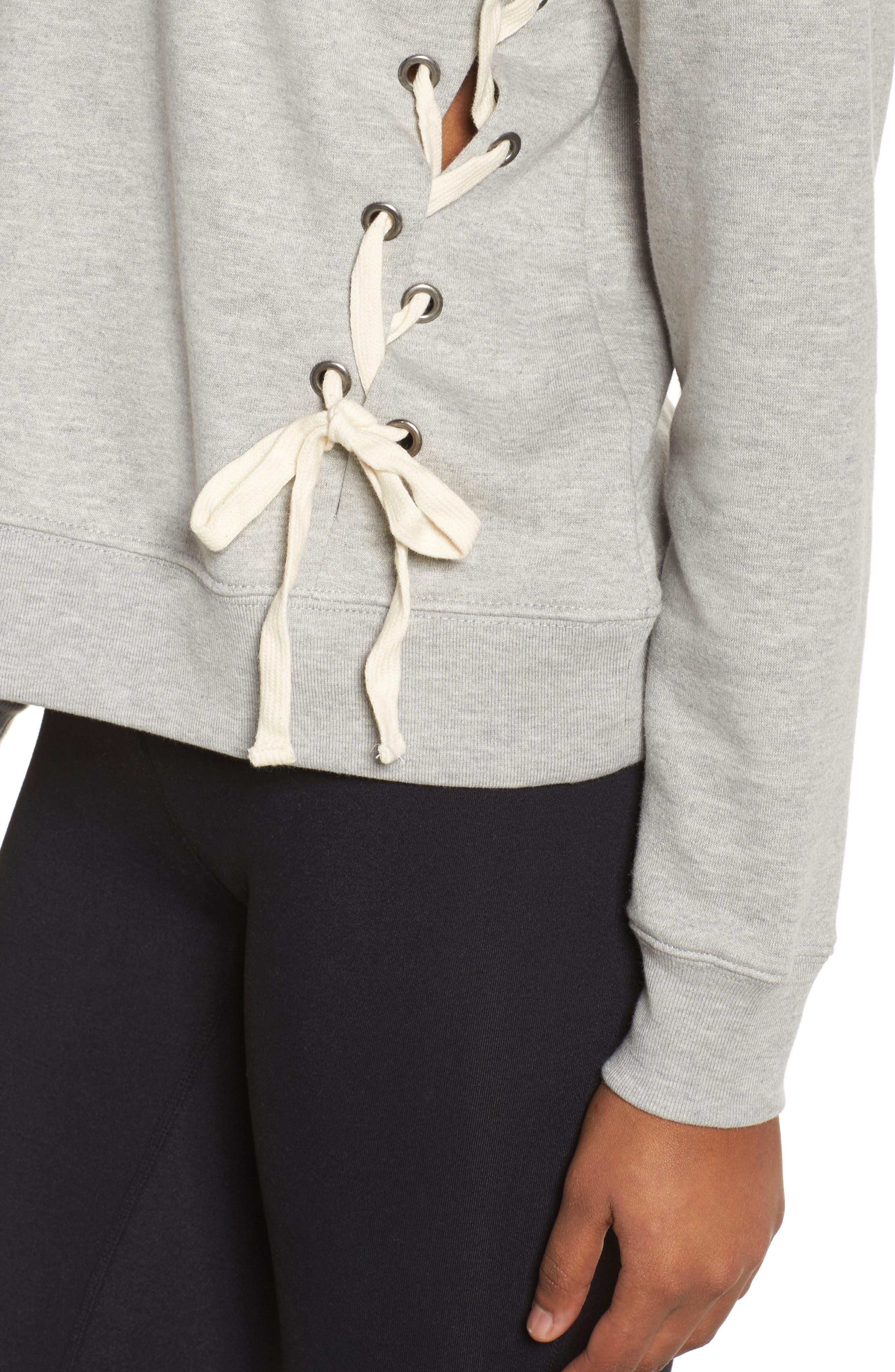 Lace-Up Crewneck Sweatshirt,                             Alternate thumbnail 4, color,                             Grey Heather