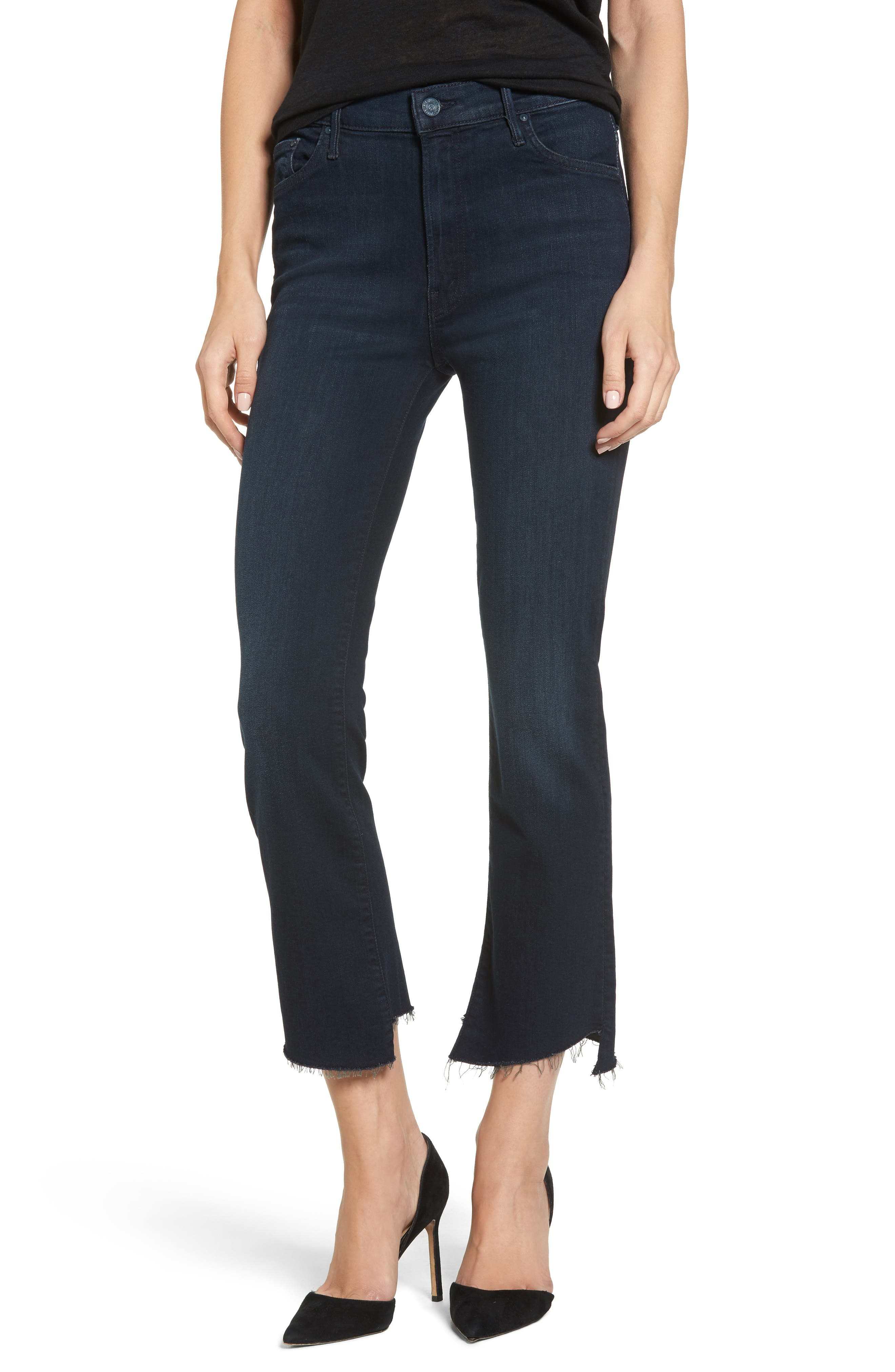 MOTHER The Insider Frayed Step Hem Crop Jeans (Hey Good Lookin)