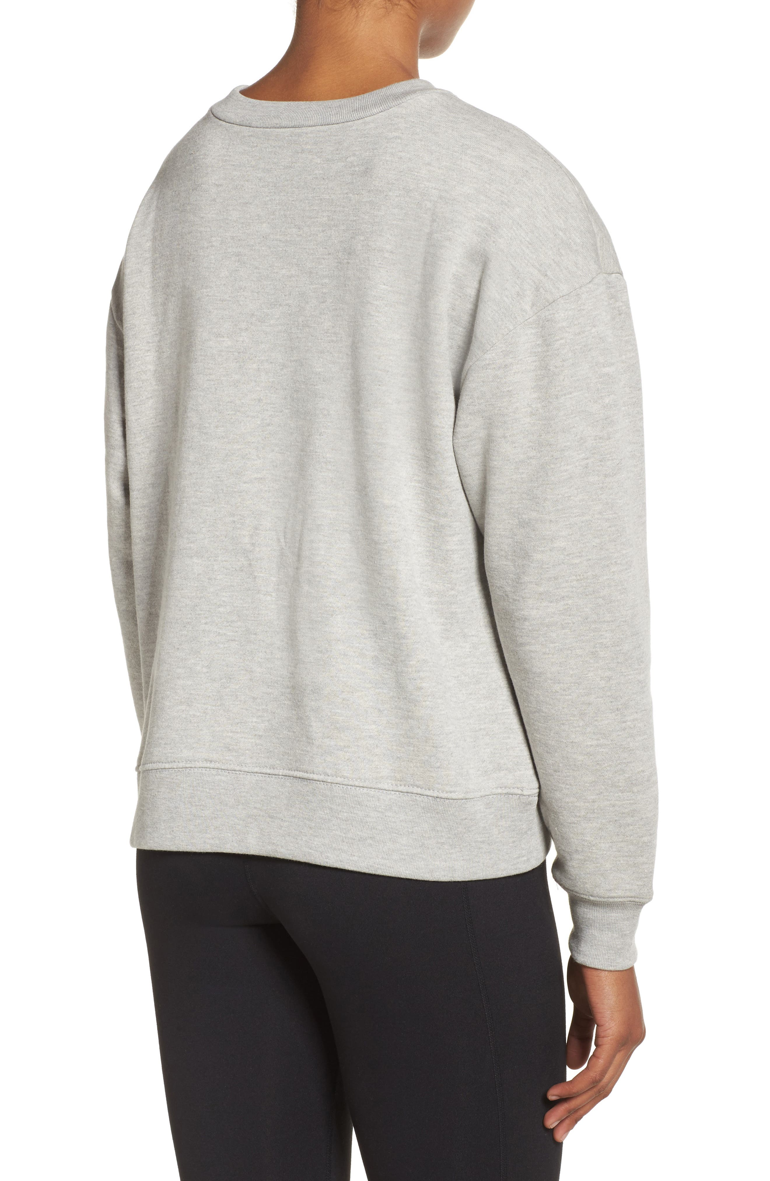 Lace-Up Crewneck Sweatshirt,                             Alternate thumbnail 2, color,                             Grey Heather