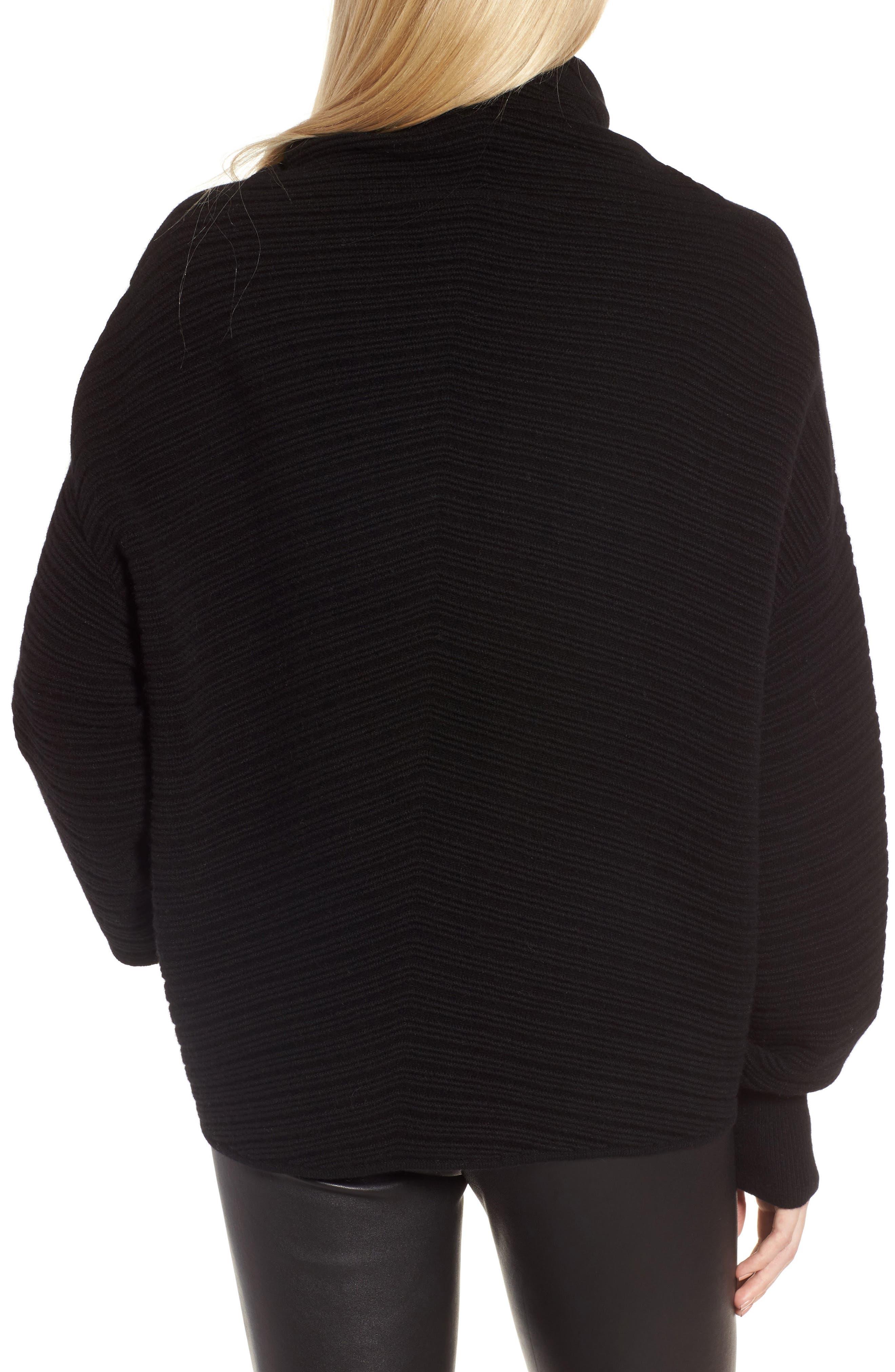 Scrunch Neck Ottoman Knit Cashmere Sweater,                             Alternate thumbnail 2, color,                             Black