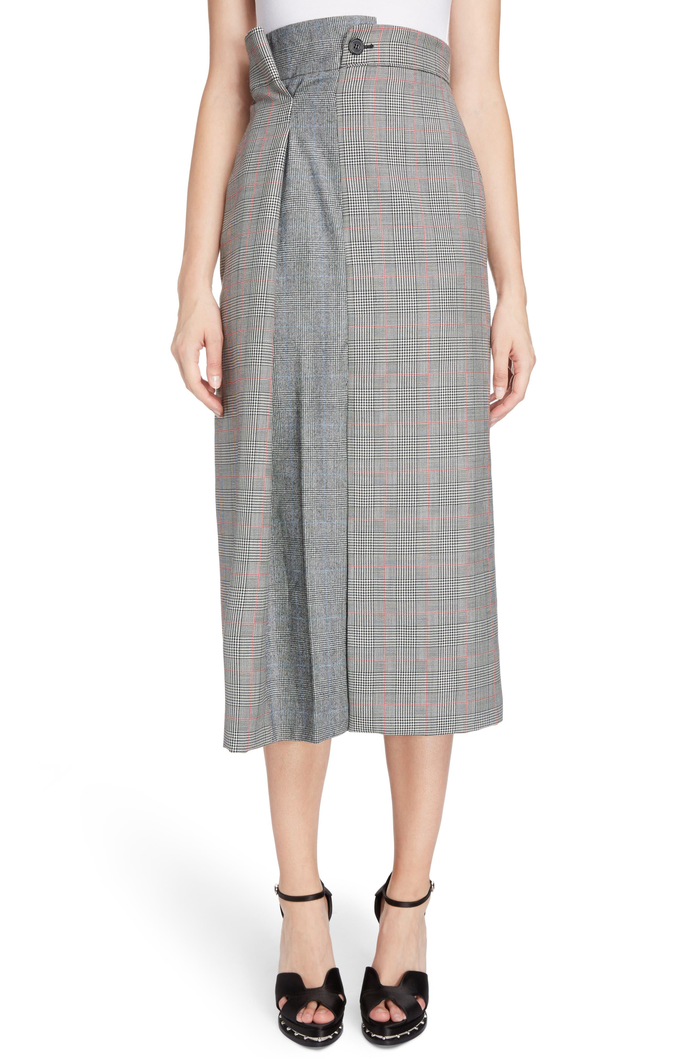 Prince of Wales Check Midi Skirt,                         Main,                         color, Black Ivory