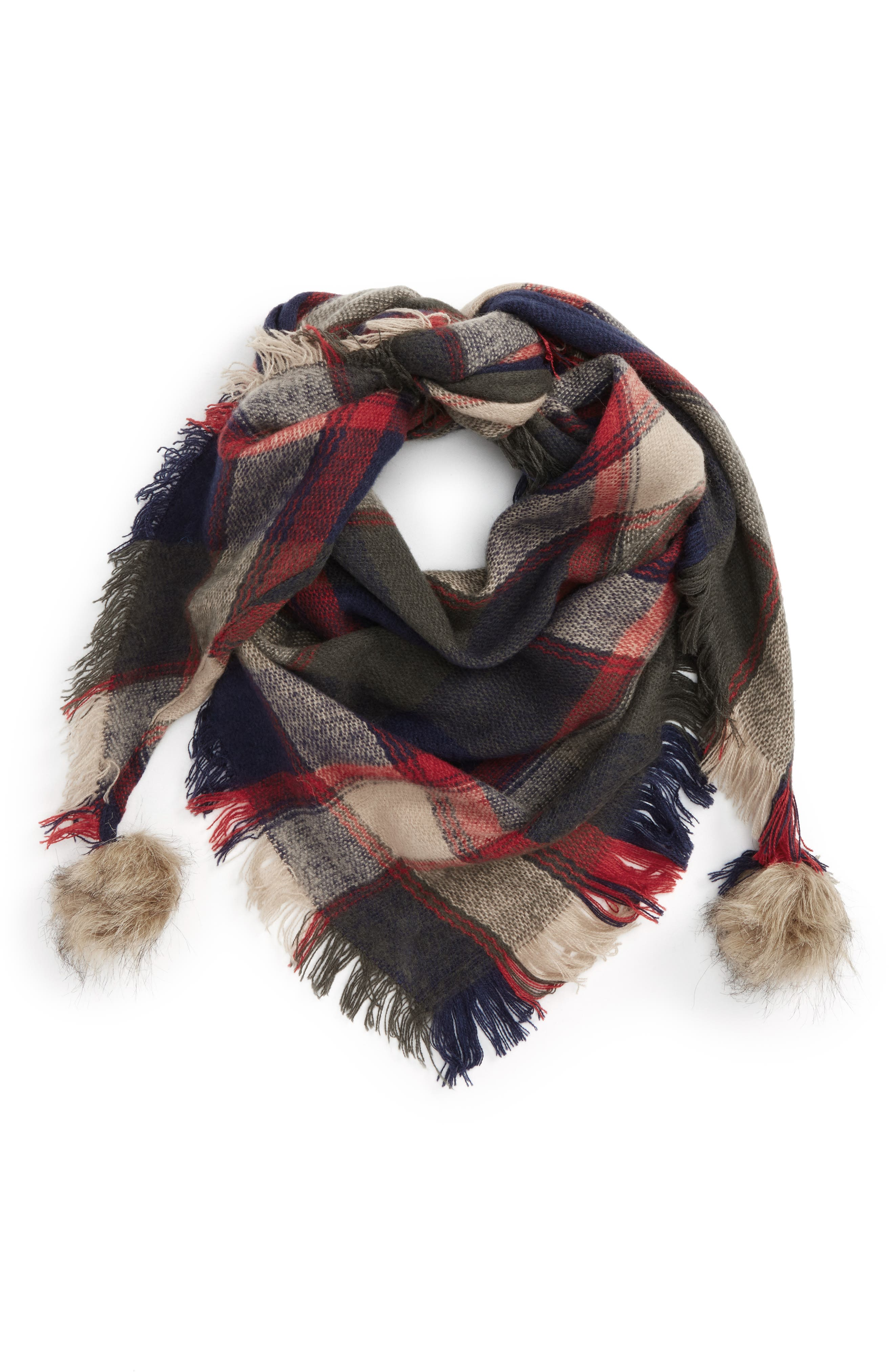 Alternate Image 1 Selected - Capelli New York Faux Fur Pom Plaid Triangle Scarf