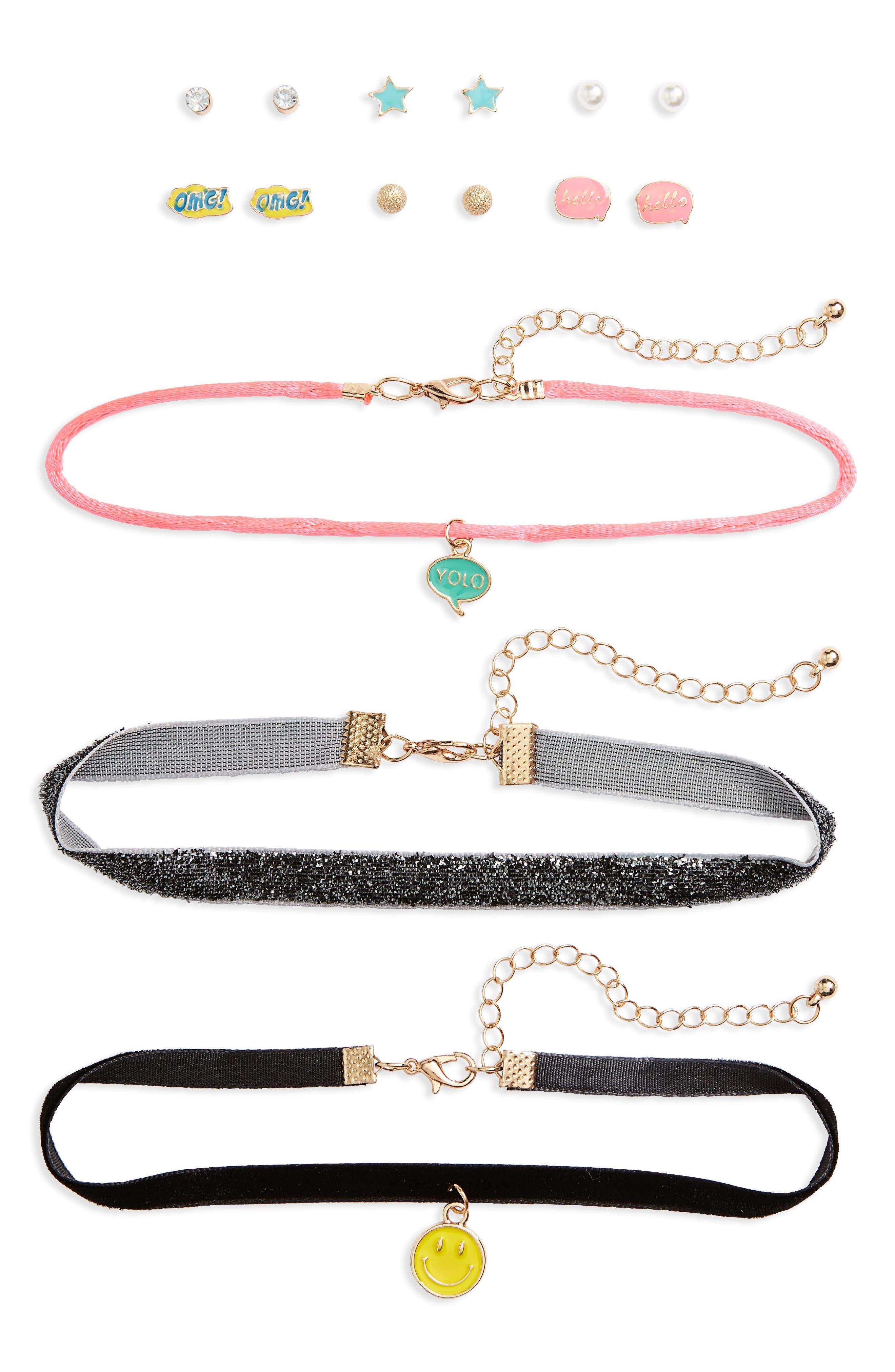 15-Piece Earring & Choker Set,                         Main,                         color, Black Multi