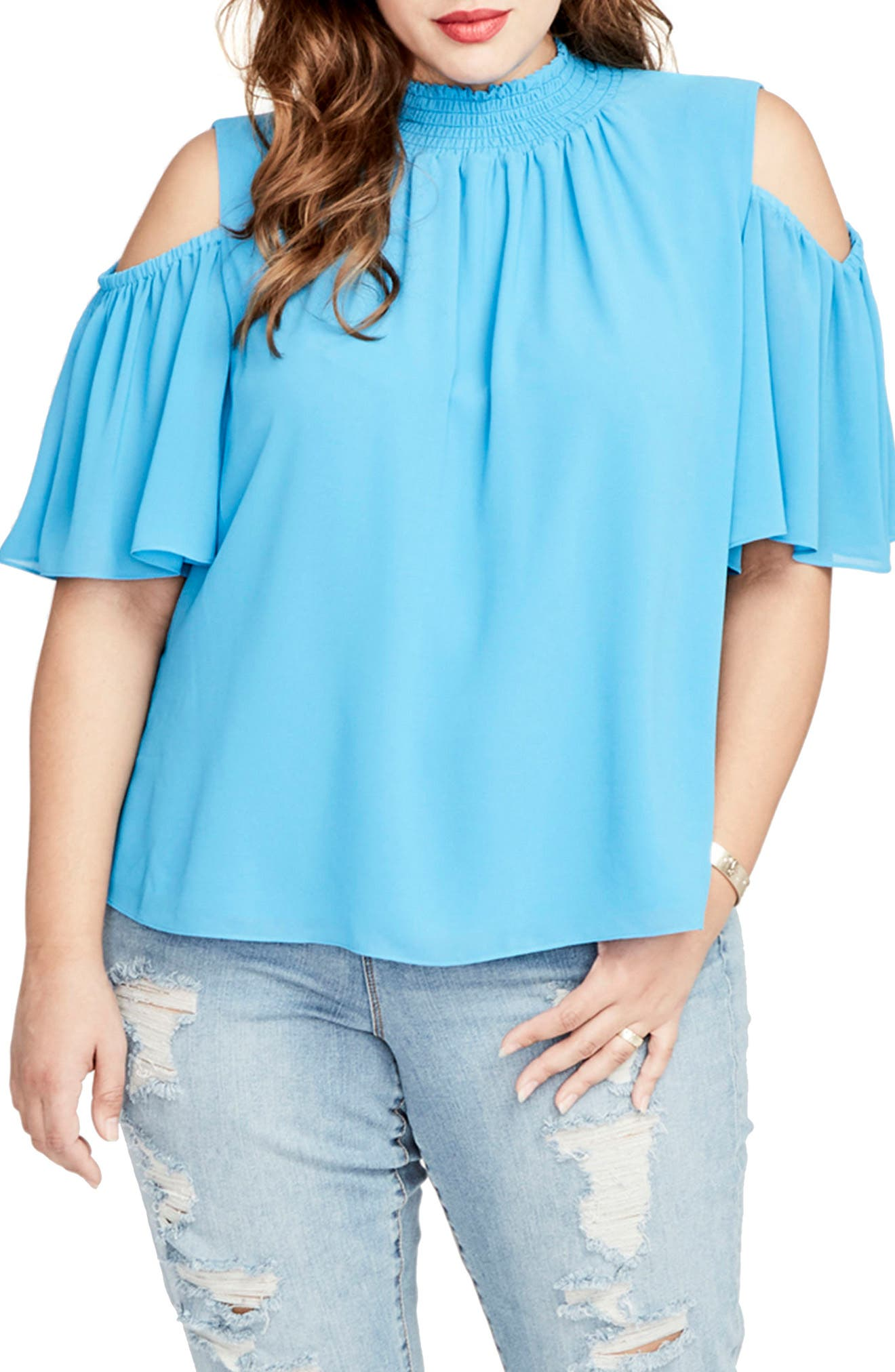 Smocked Cold Shoulder Top,                             Main thumbnail 1, color,                             Electric Blue