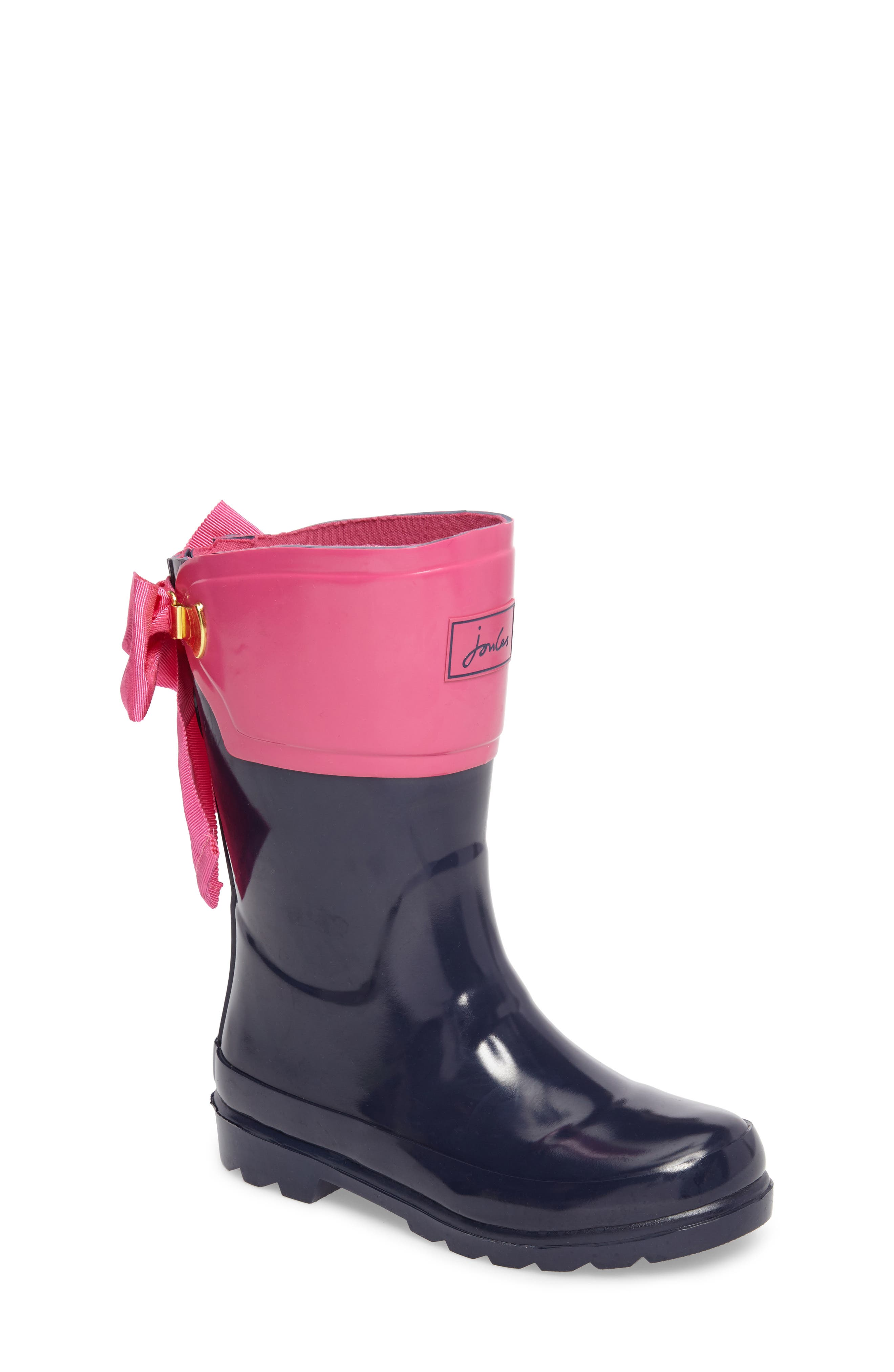 Main Image - Joules Evedon Bow Waterproof Rain Boot (Toddler, Little Kid & Big Kid)