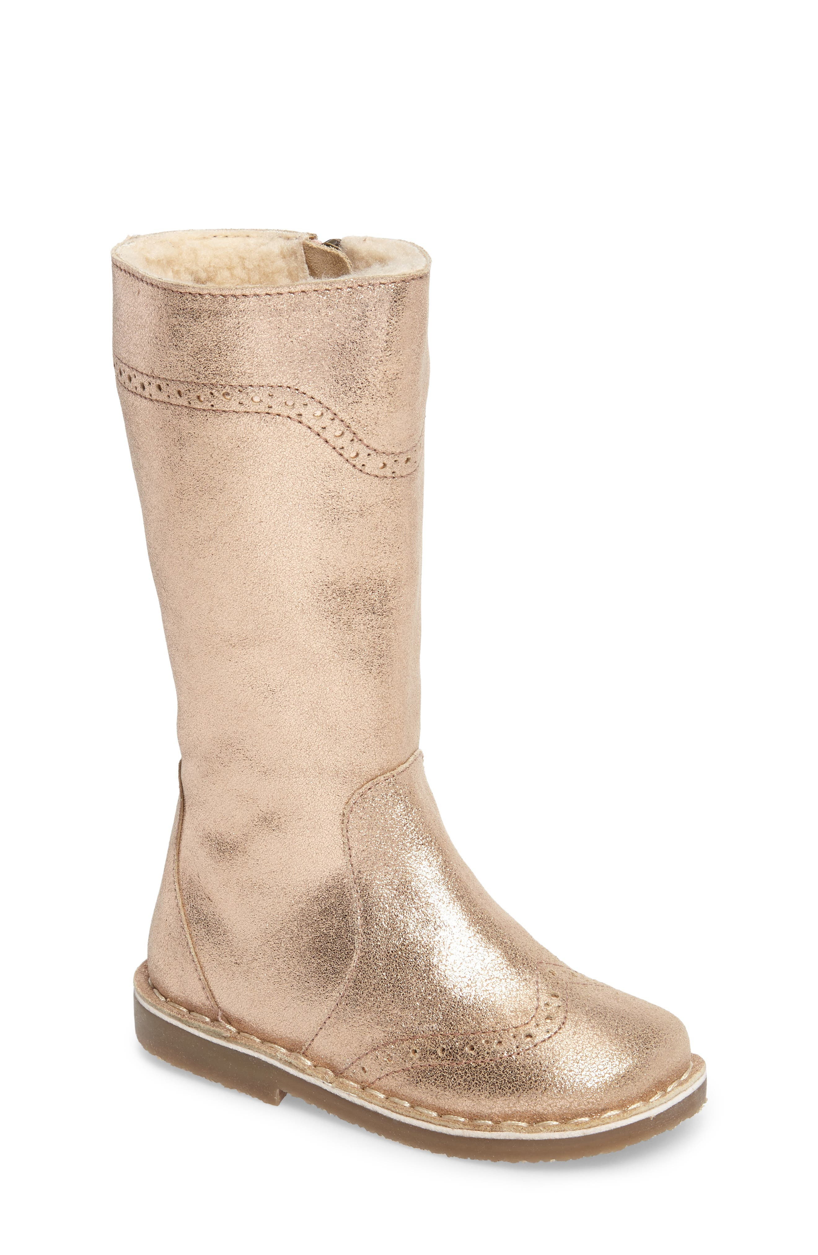 Tall Leather Boot,                         Main,                         color, Rose Gold