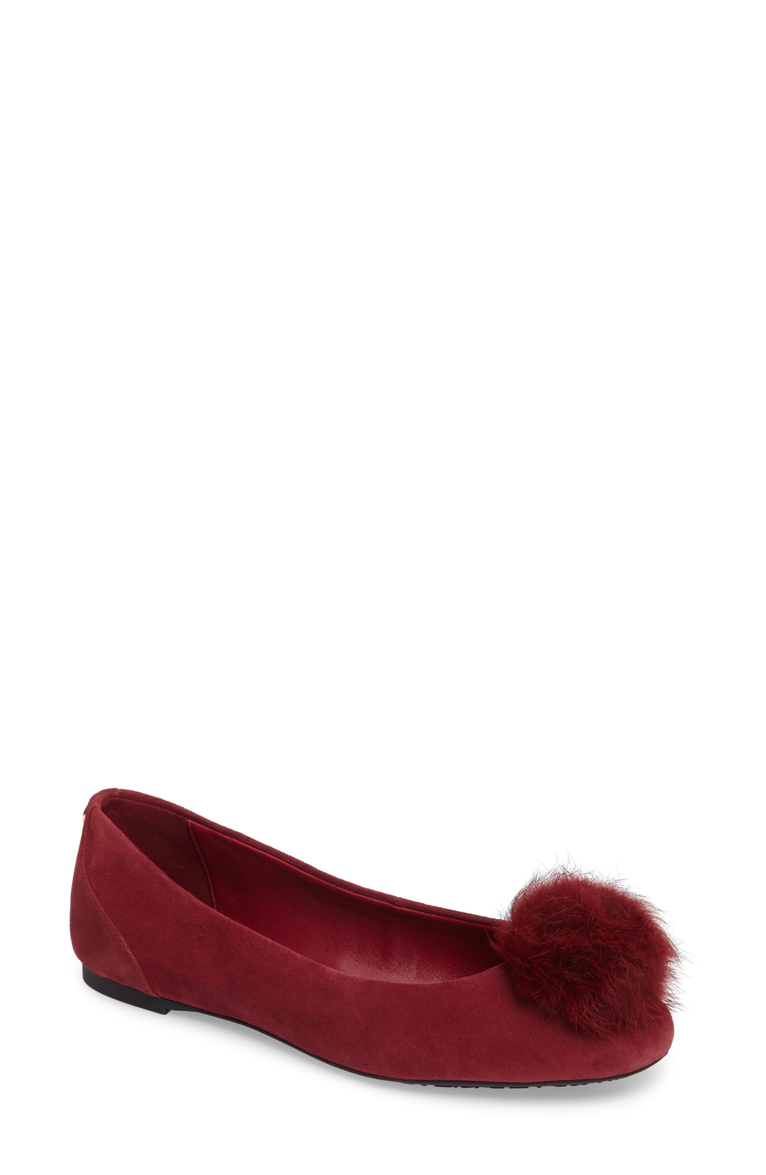 MICHAEL Michael Kors Remi Ballet Flat with Genuine Rabbit Fur Pom (Women)
