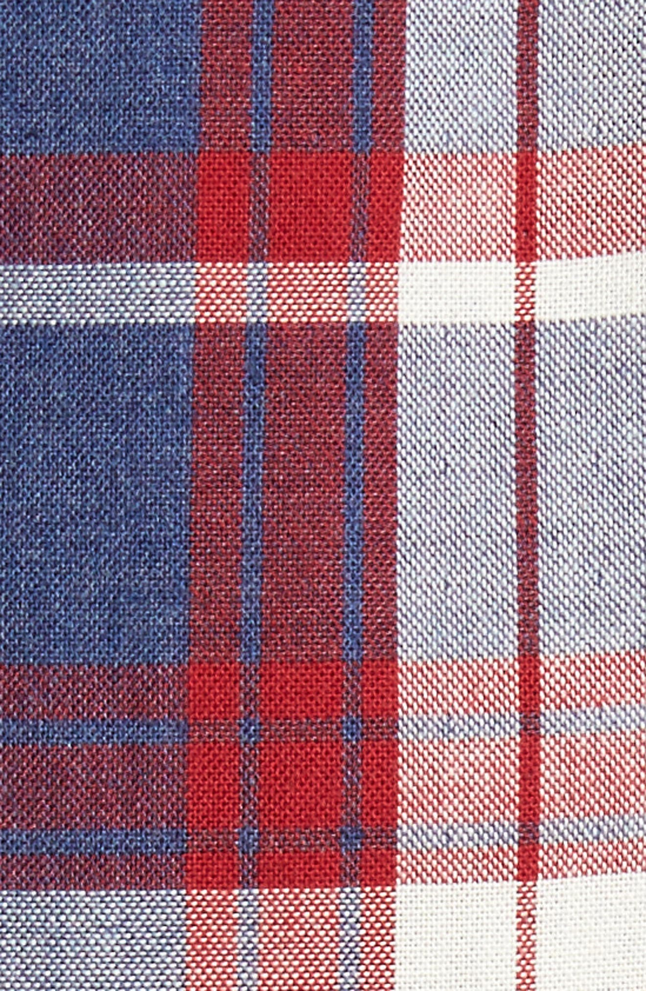 Trim Fit Workwear Duofold Plaid Sport Shirt,                             Alternate thumbnail 5, color,                             Blue Ensign Red Plaid Duofold