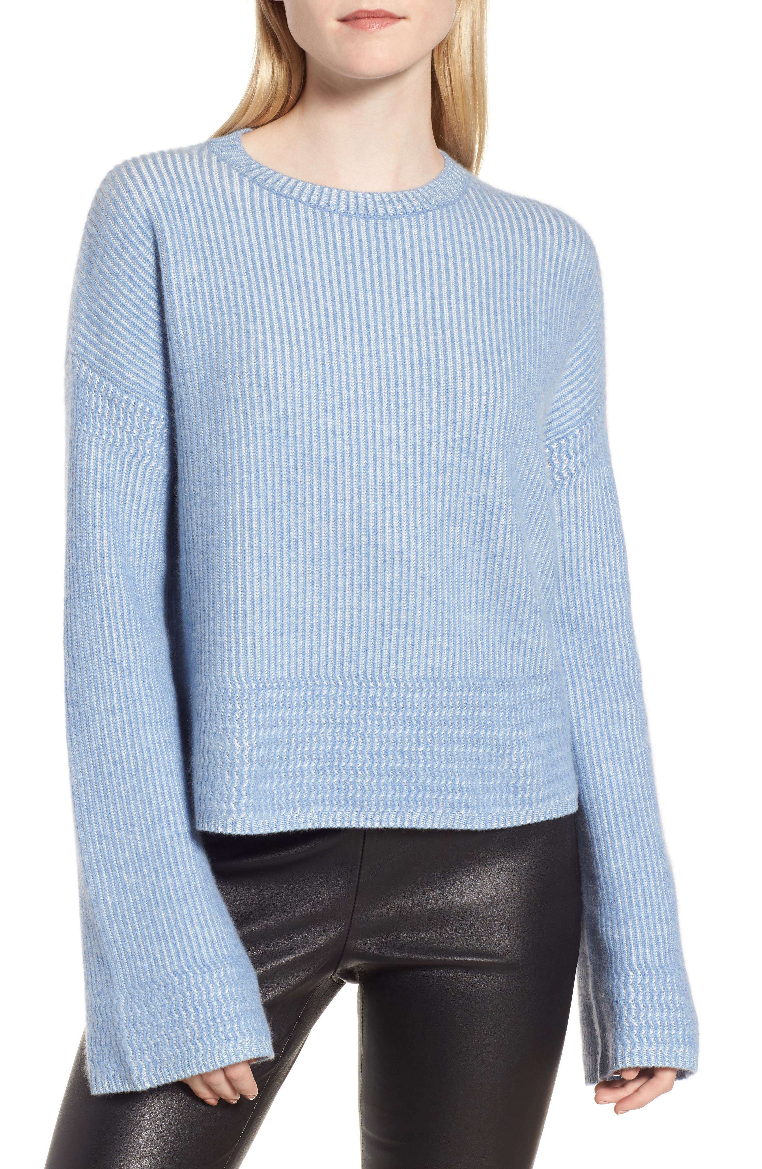 Cashmere & Silk Blend Plaited Pullover,                         Main,                         color, Blue- Ivory Combo