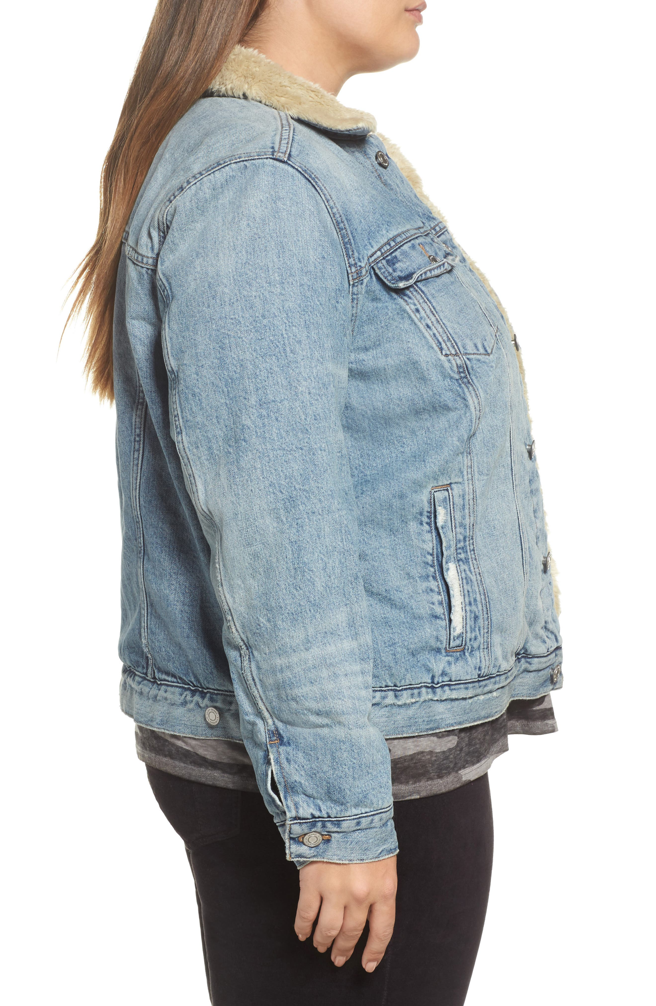 Alternate Image 3  - Lucky Brand Faux Fur Collar Trucker Jacket (Wellton) (Plus Size)