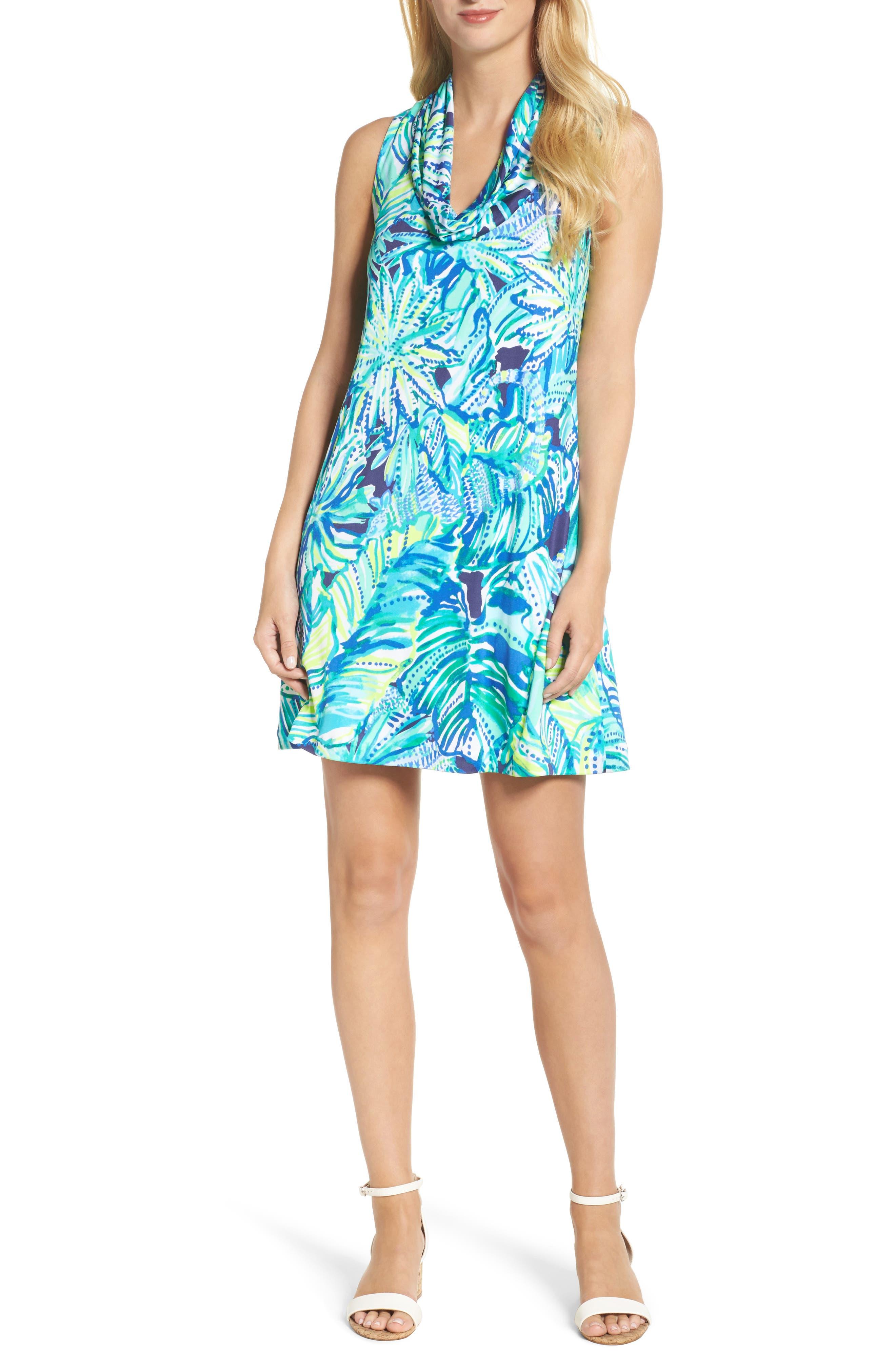 Lyza Silk Shift Dress,                             Main thumbnail 1, color,                             Bright Navy Dally