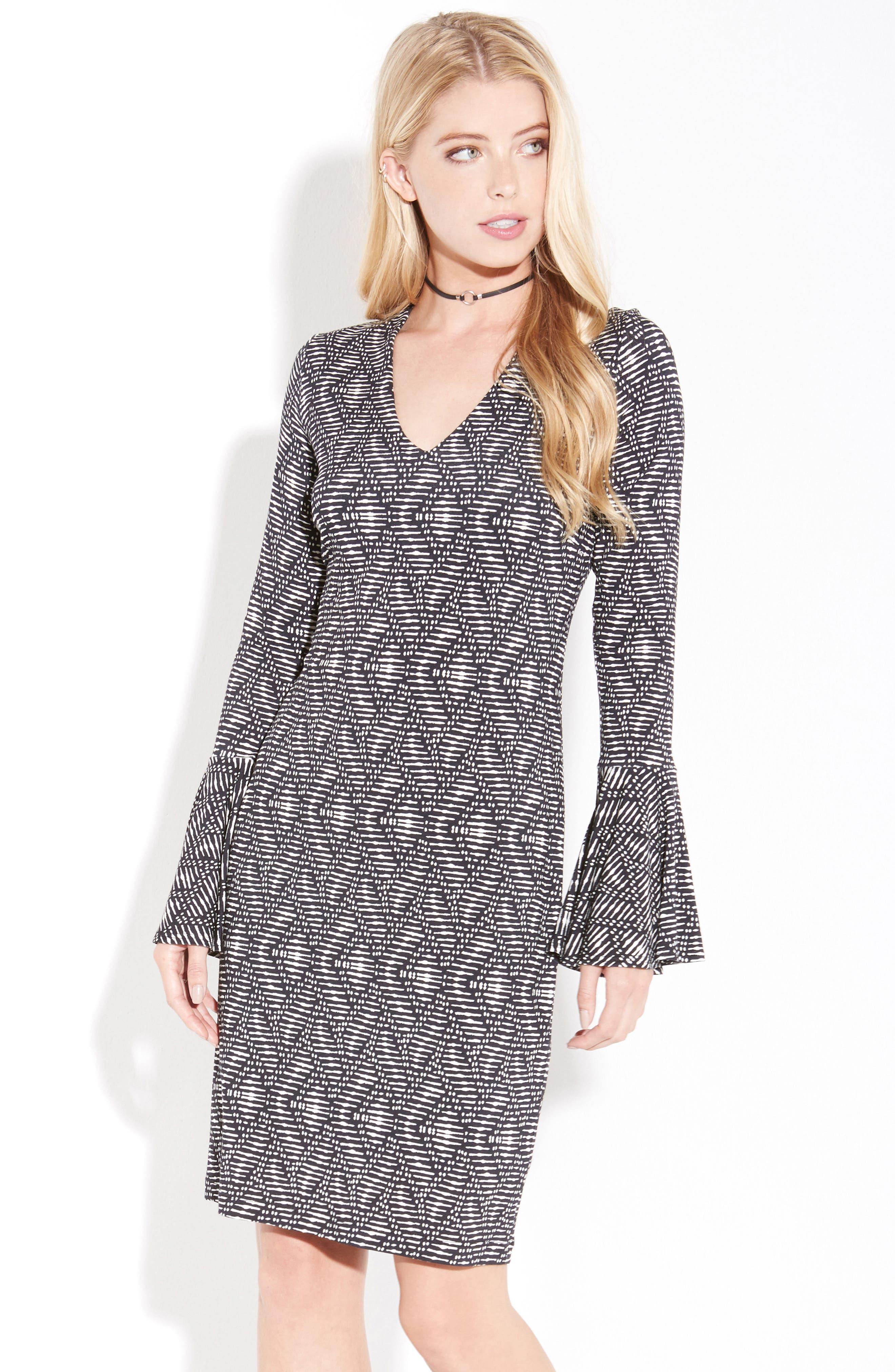 Alternate Image 2  - Karen Kane Print Bell Sleeve Dress