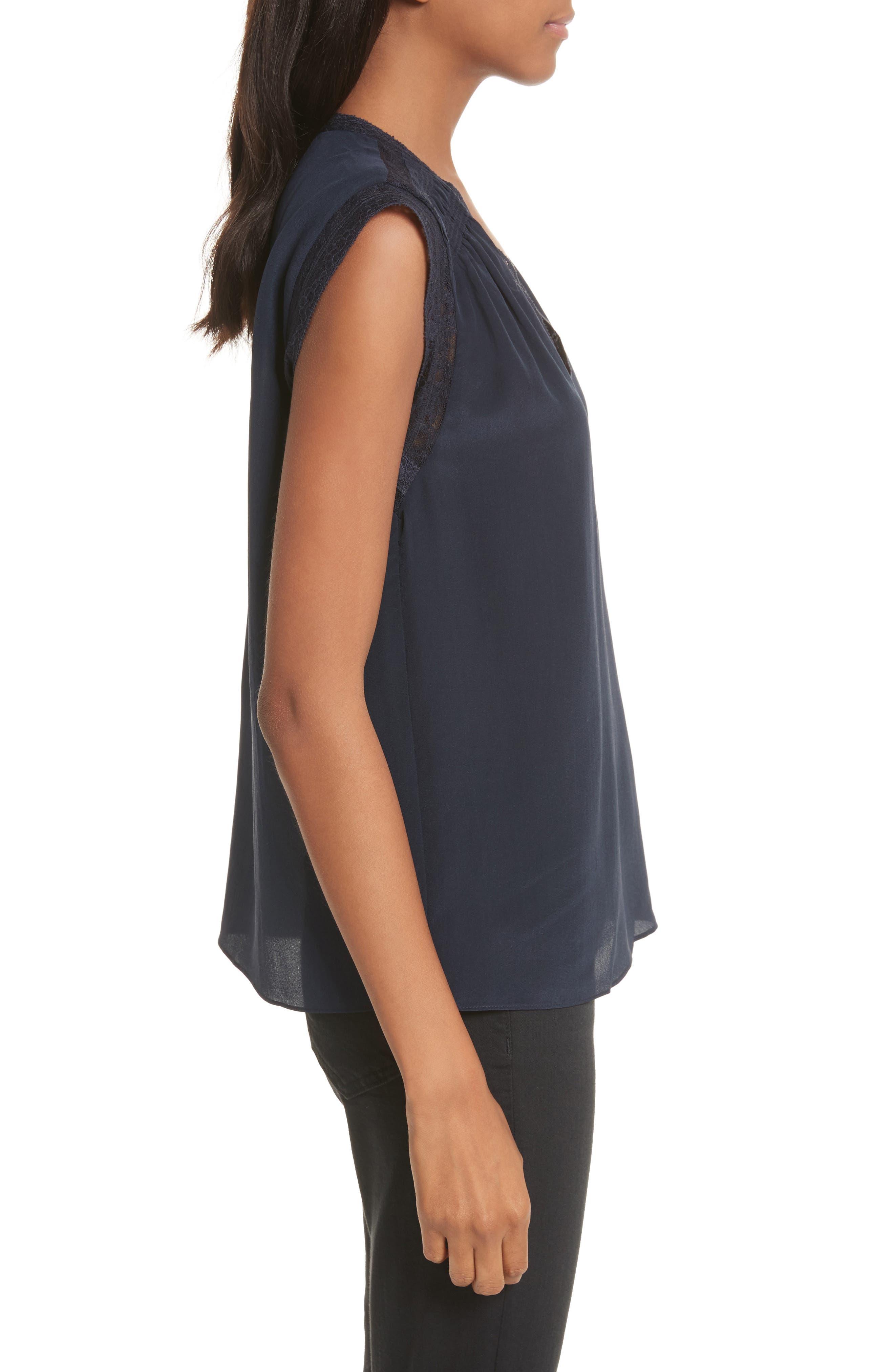 Alternate Image 3  - Rebecca Taylor Lace Trim Silk Top