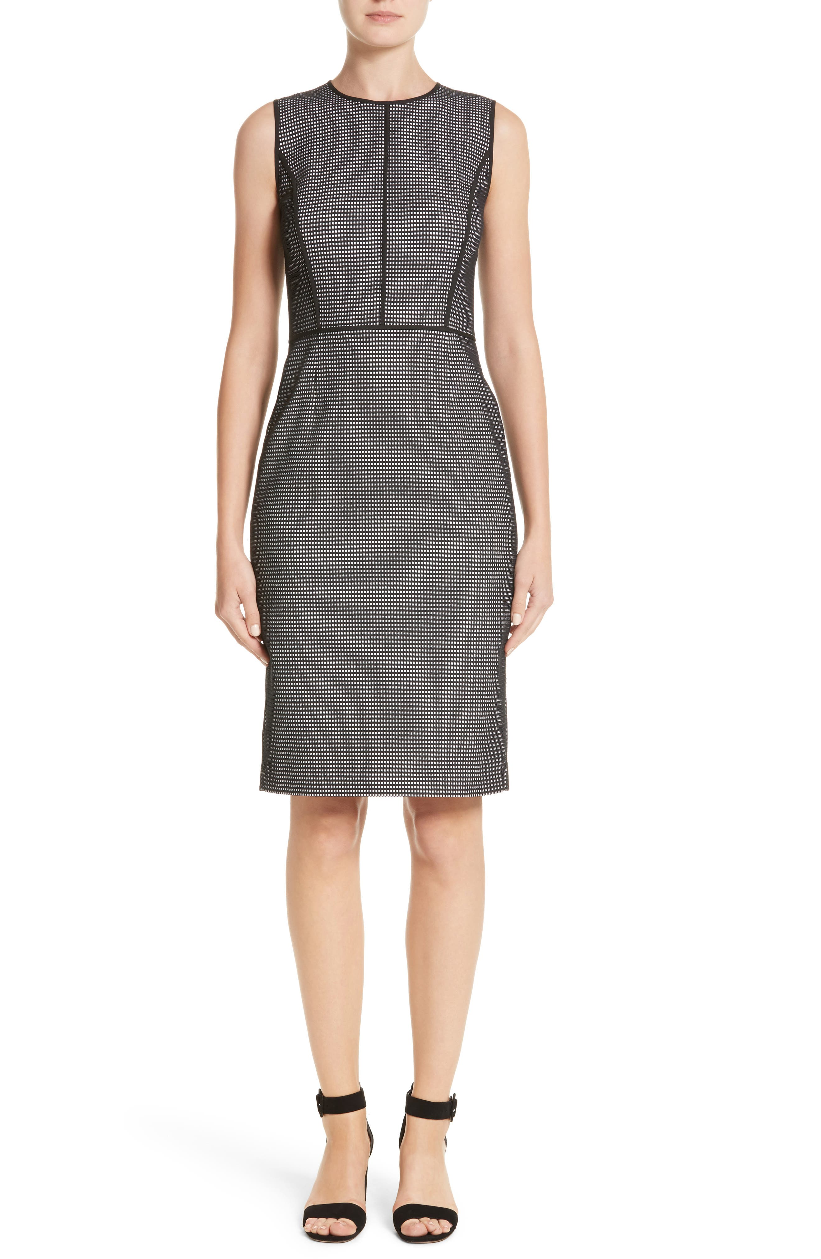 Bree Check Sheath Dress,                         Main,                         color, Black Multi