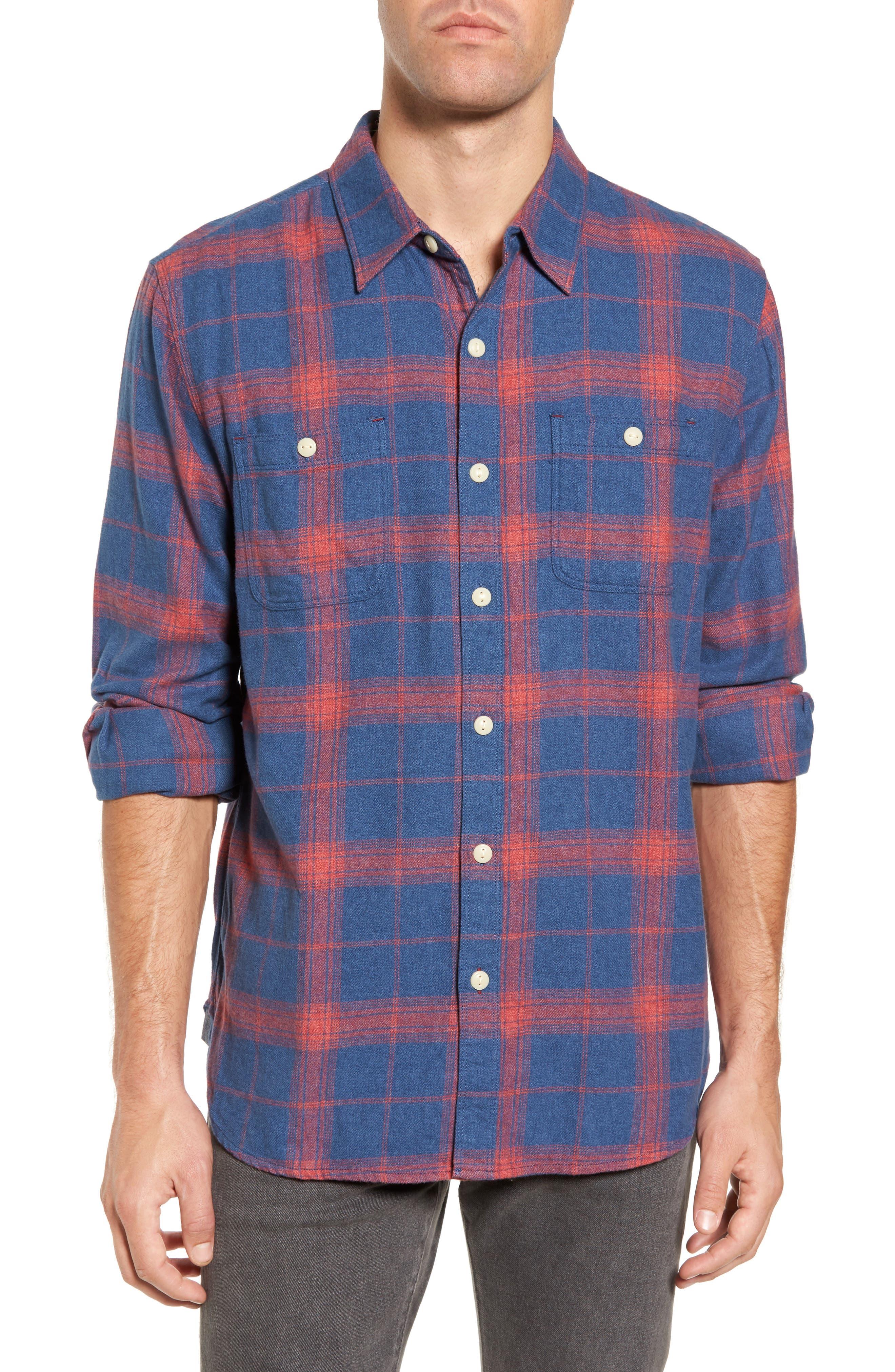Roadtrip Plaid Flannel Sport Shirt,                             Main thumbnail 1, color,                             Blue/ Red