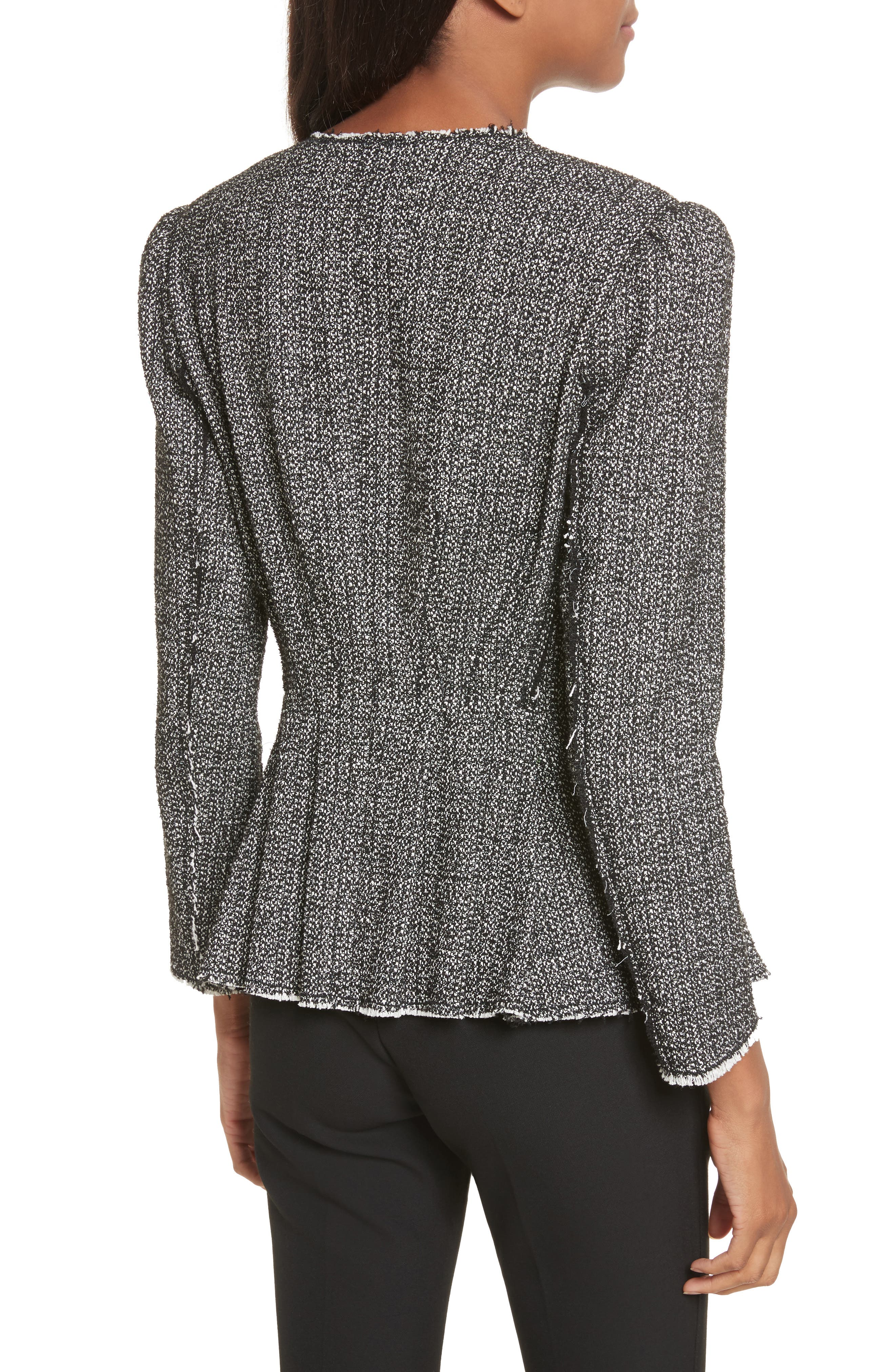 Texture Tweed Jacket,                             Alternate thumbnail 2, color,                             Black Combo