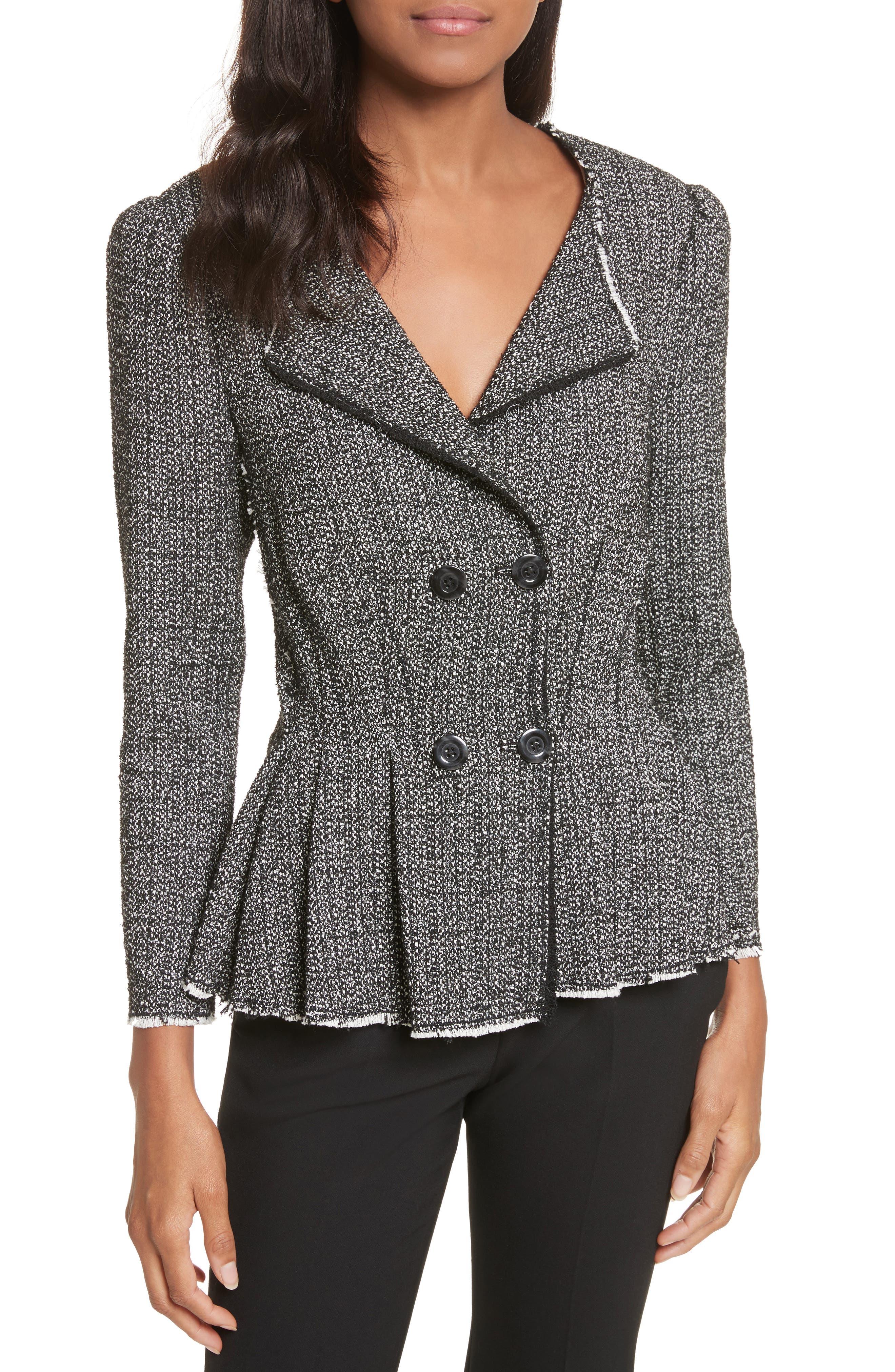Texture Tweed Jacket,                             Main thumbnail 1, color,                             Black Combo