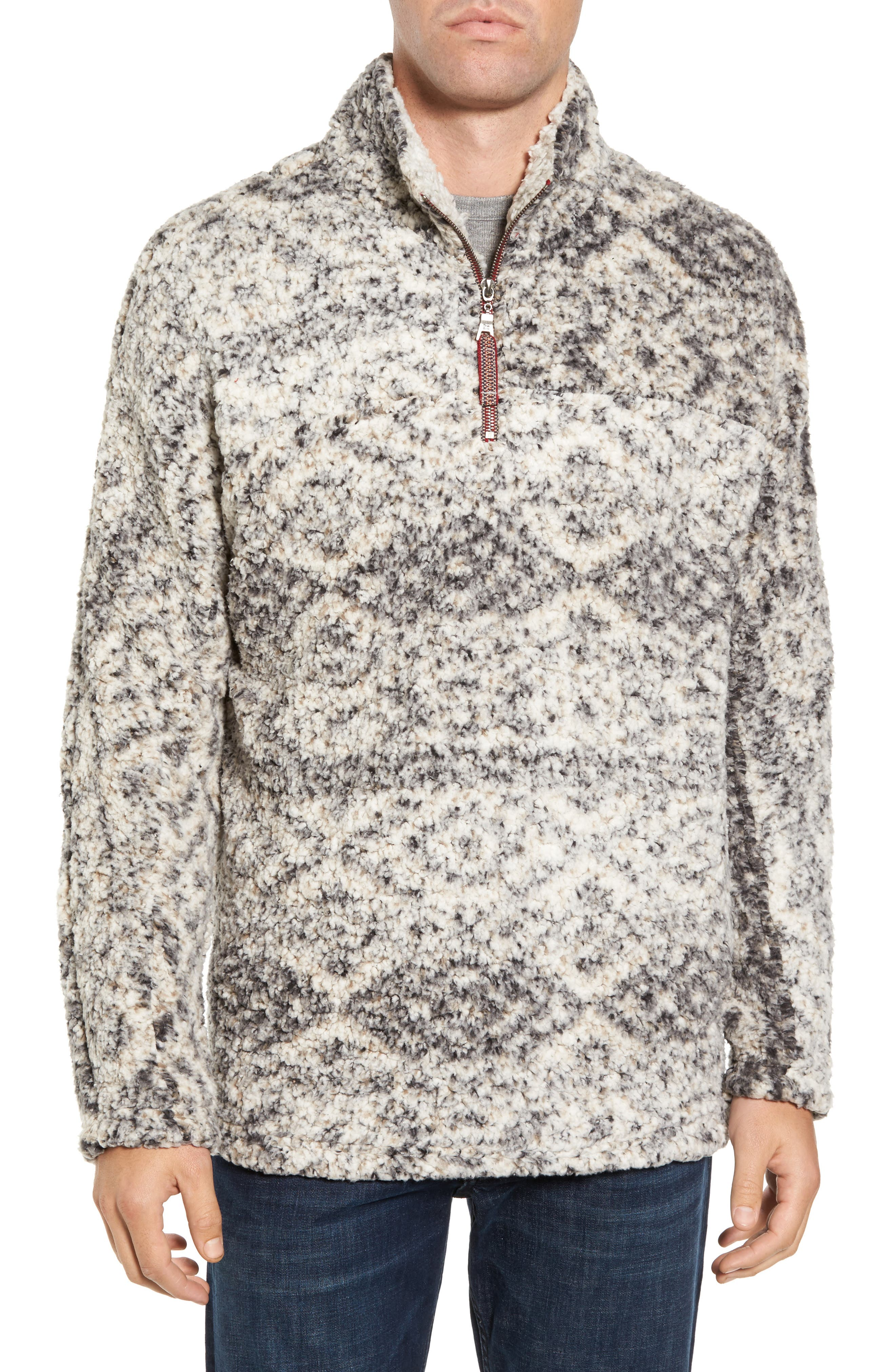True Grit Print Frosty Tipped Quarter Zip Pullover