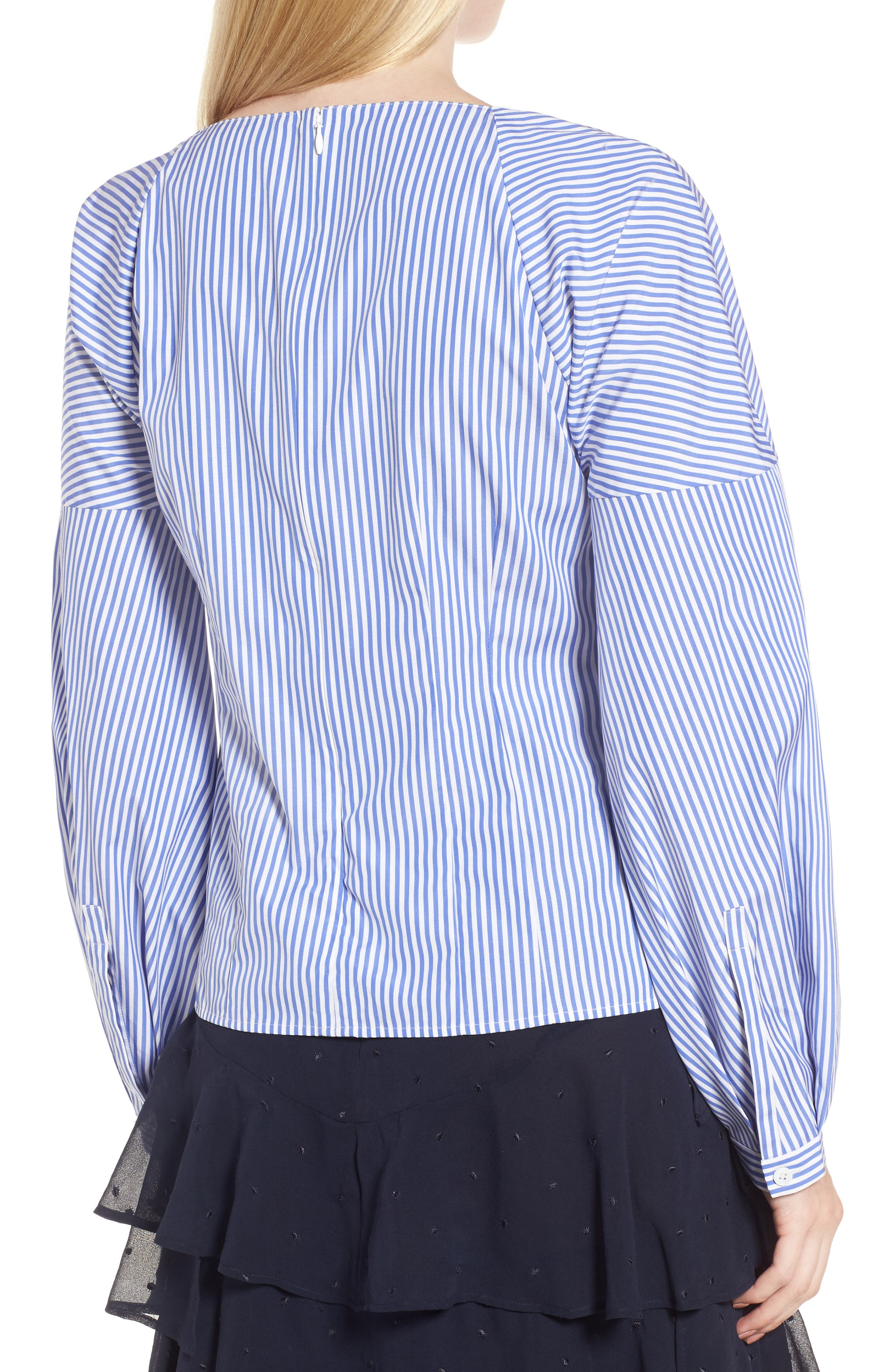 Balloon Sleeve Stripe Shirt,                             Alternate thumbnail 2, color,                             Blue Azurite Vania Stripe